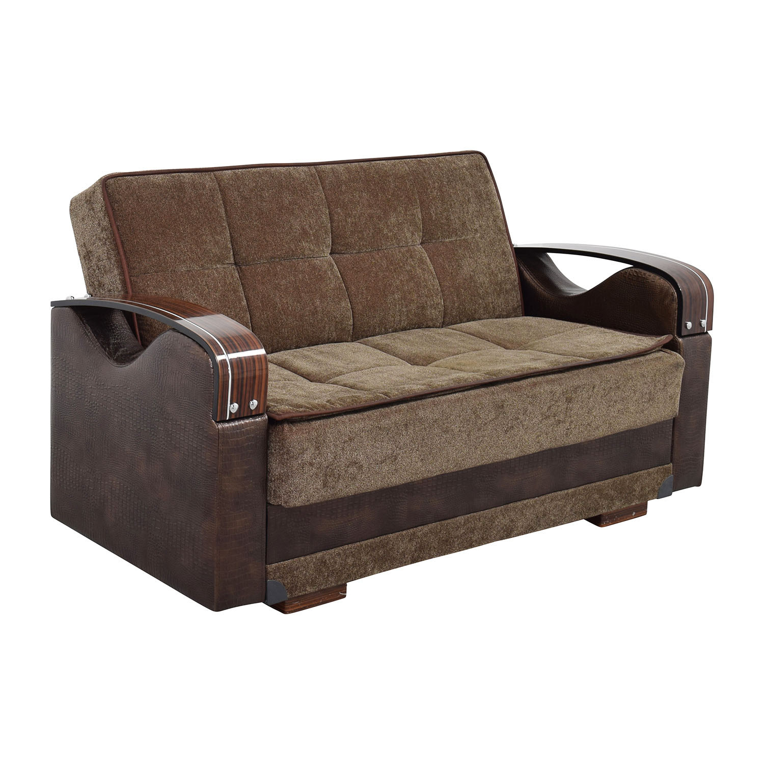 55 Off Na Brown Futon Love Seat With Wooden Armrest Sofas