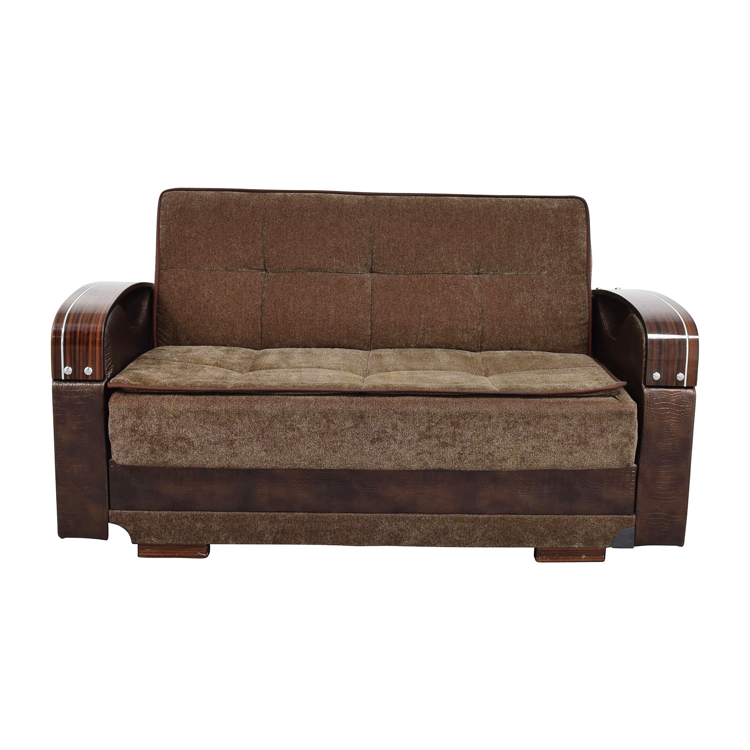 Brown Futon Love Seat With Wooden Armrest Na