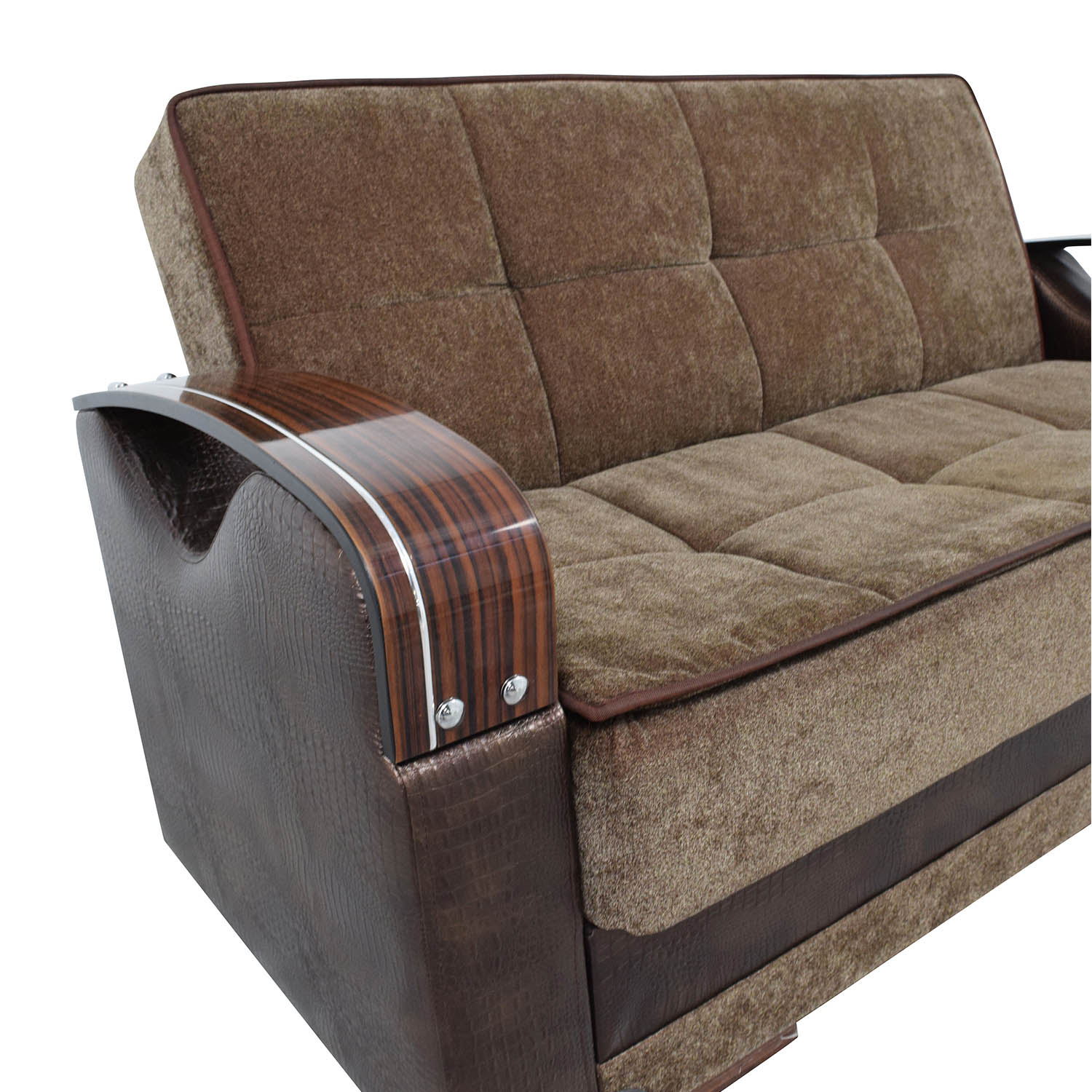 Brown Futon Love Seat with Wooden Armrest sale