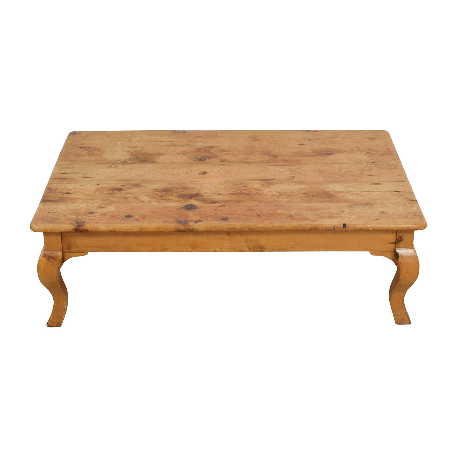 Custom Hand Carved Large Natural Wood Coffee Table For Sale