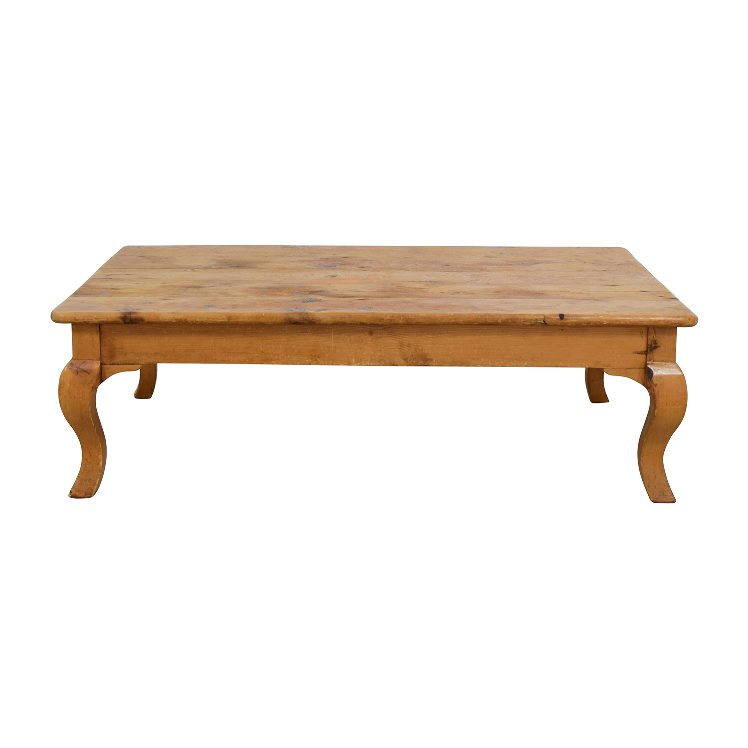 Custom Hand Carved Large Natural Wood Coffee Table