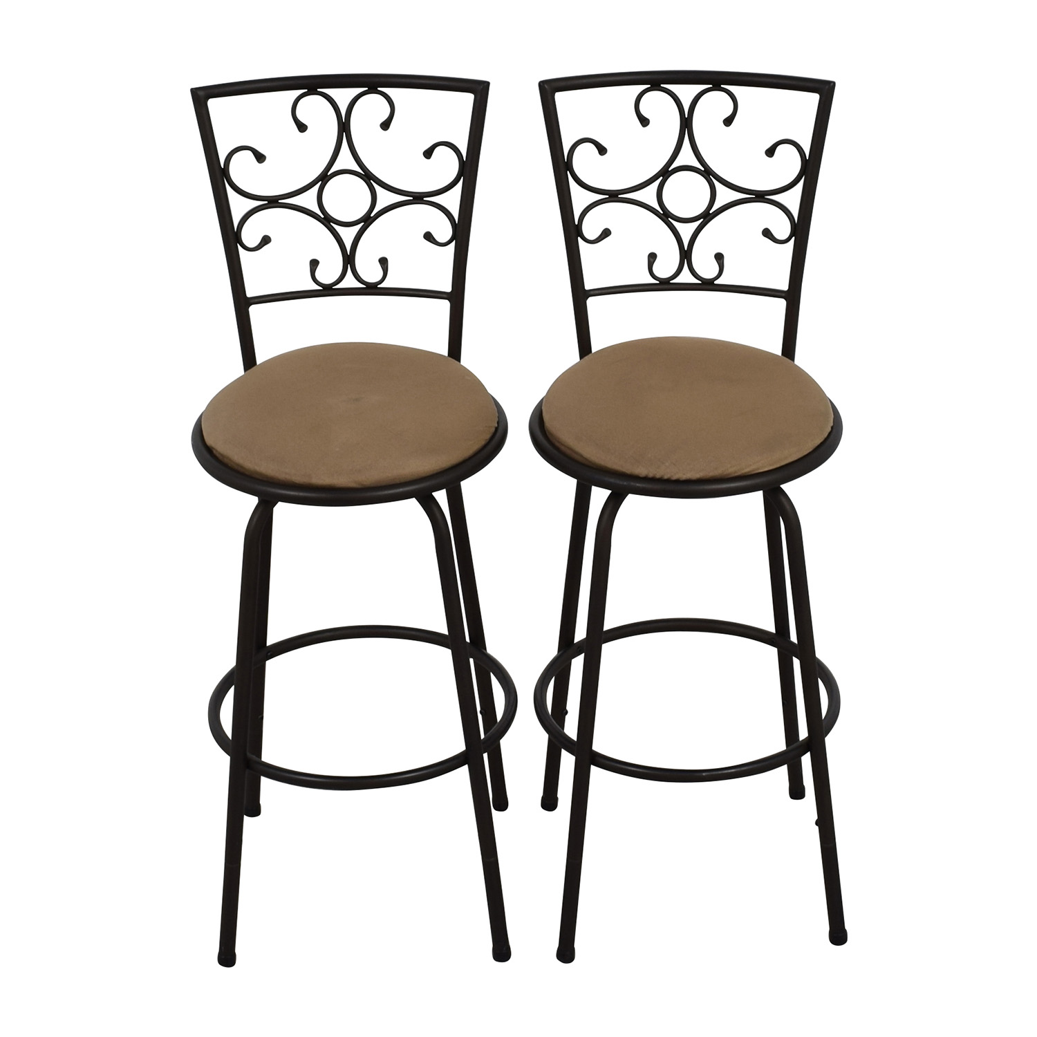 Pair of Black Iron Plush Bar Stools for sale
