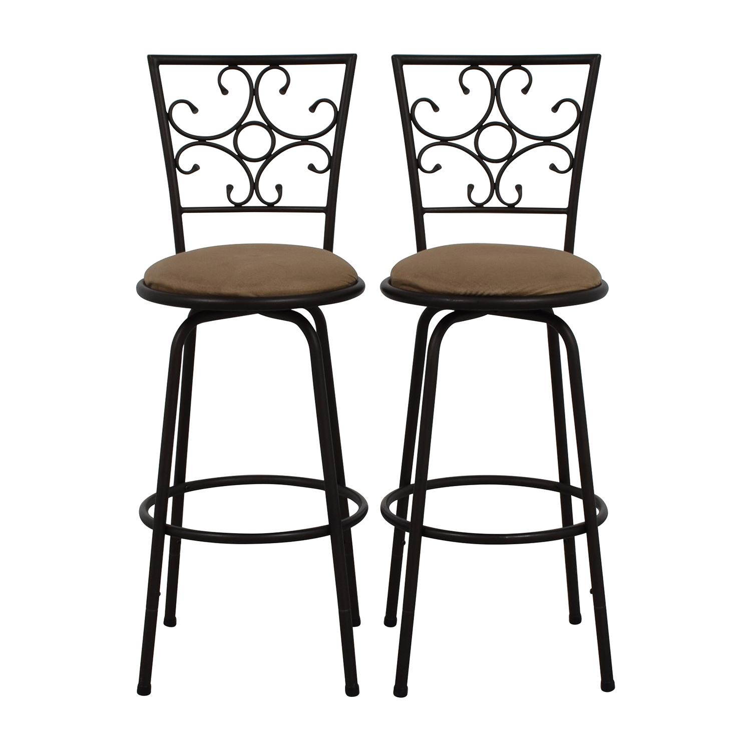 Pair of Black Iron Plush Bar Stools discount