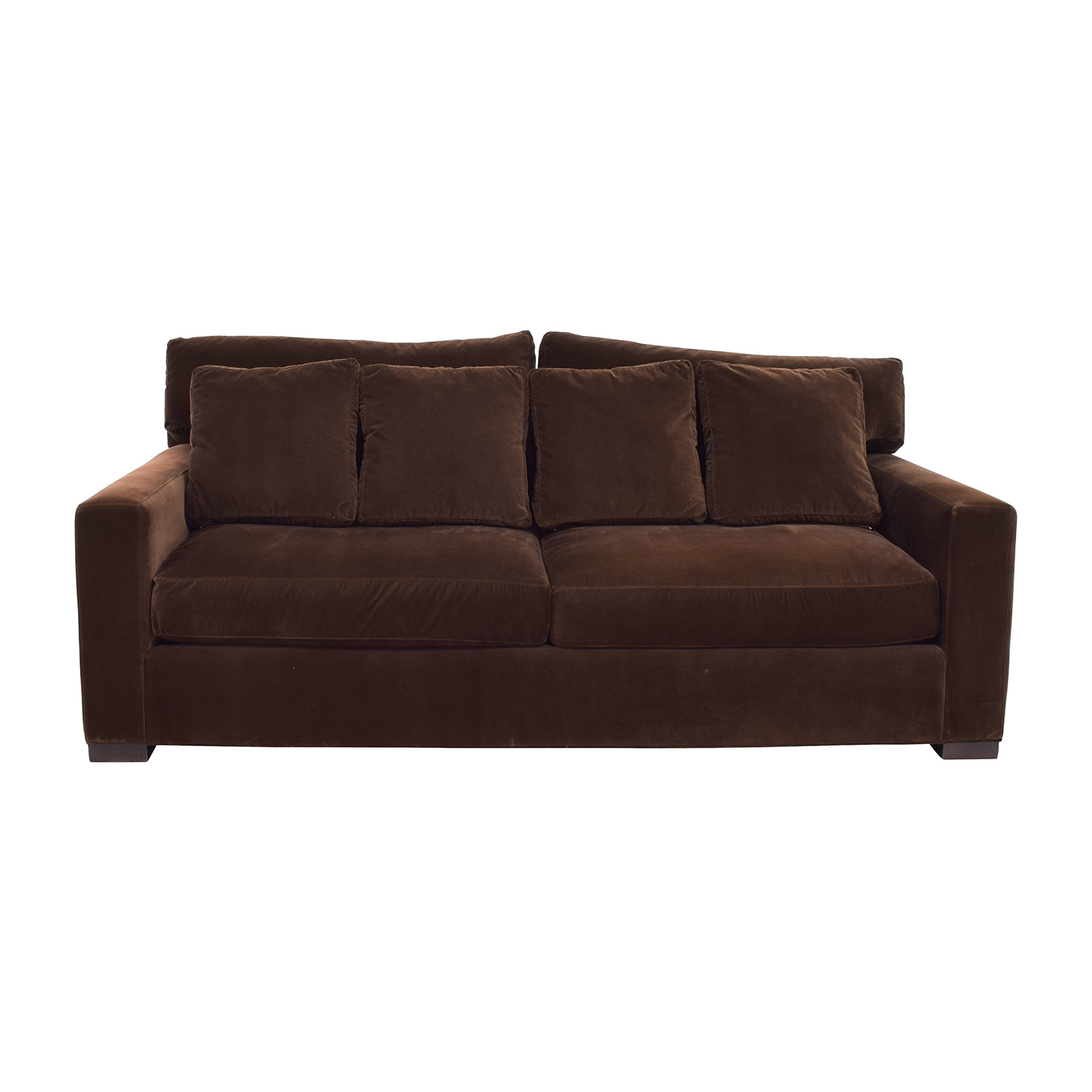 Crate and Barrel Crate & Barrel Axis II Brown Velvet Sofa on sale