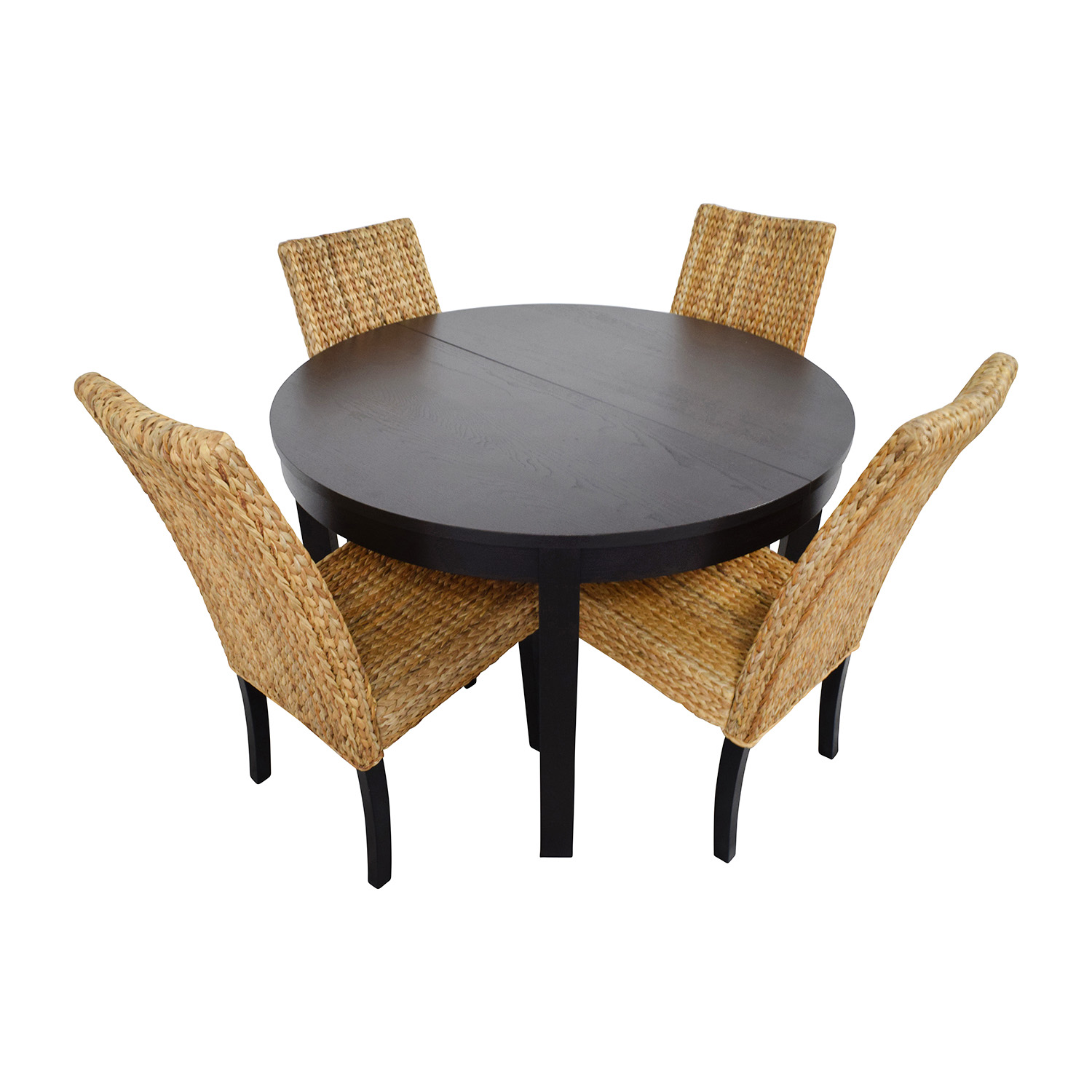 Macys & IKEA Round Black Dining Table Set with Four Chairs discount