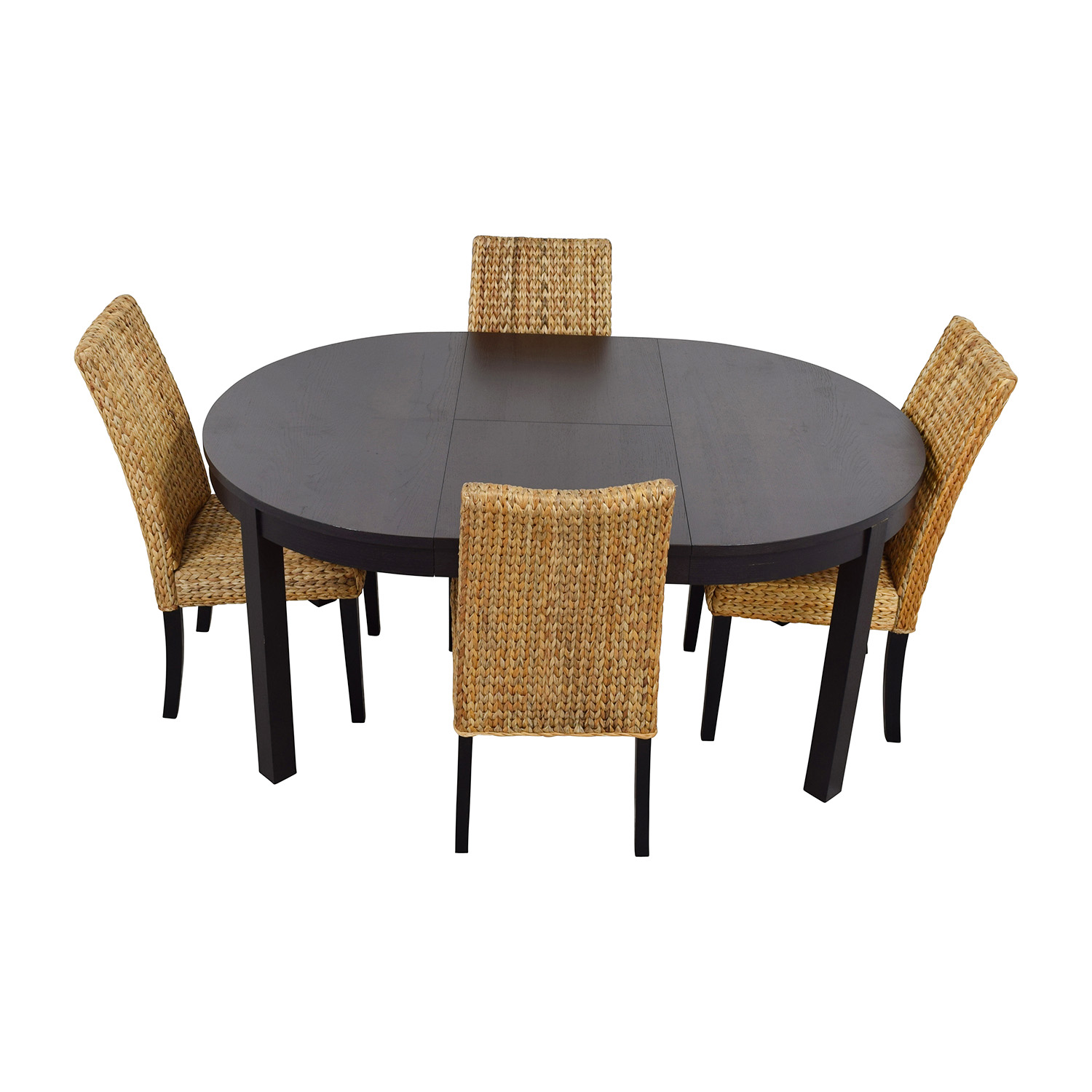 66 Off Macy 39 S Ikea Round Black Dining Table Set With Four Chairs Tables