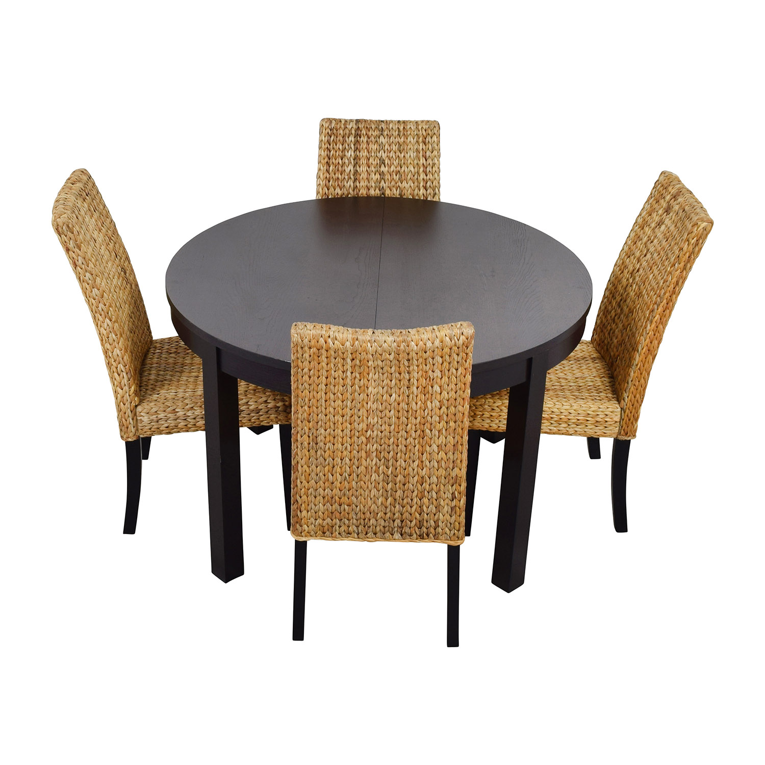 Macys & IKEA Round Black Dining Table Set with Four Chairs brown