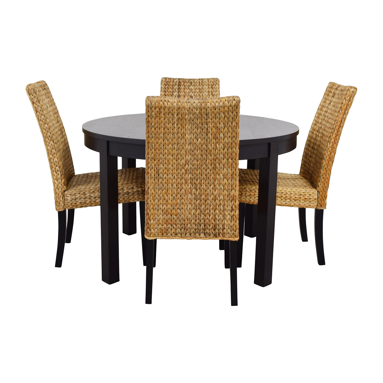 buy Macys & IKEA Round Black Dining Table Set with Four Chairs online