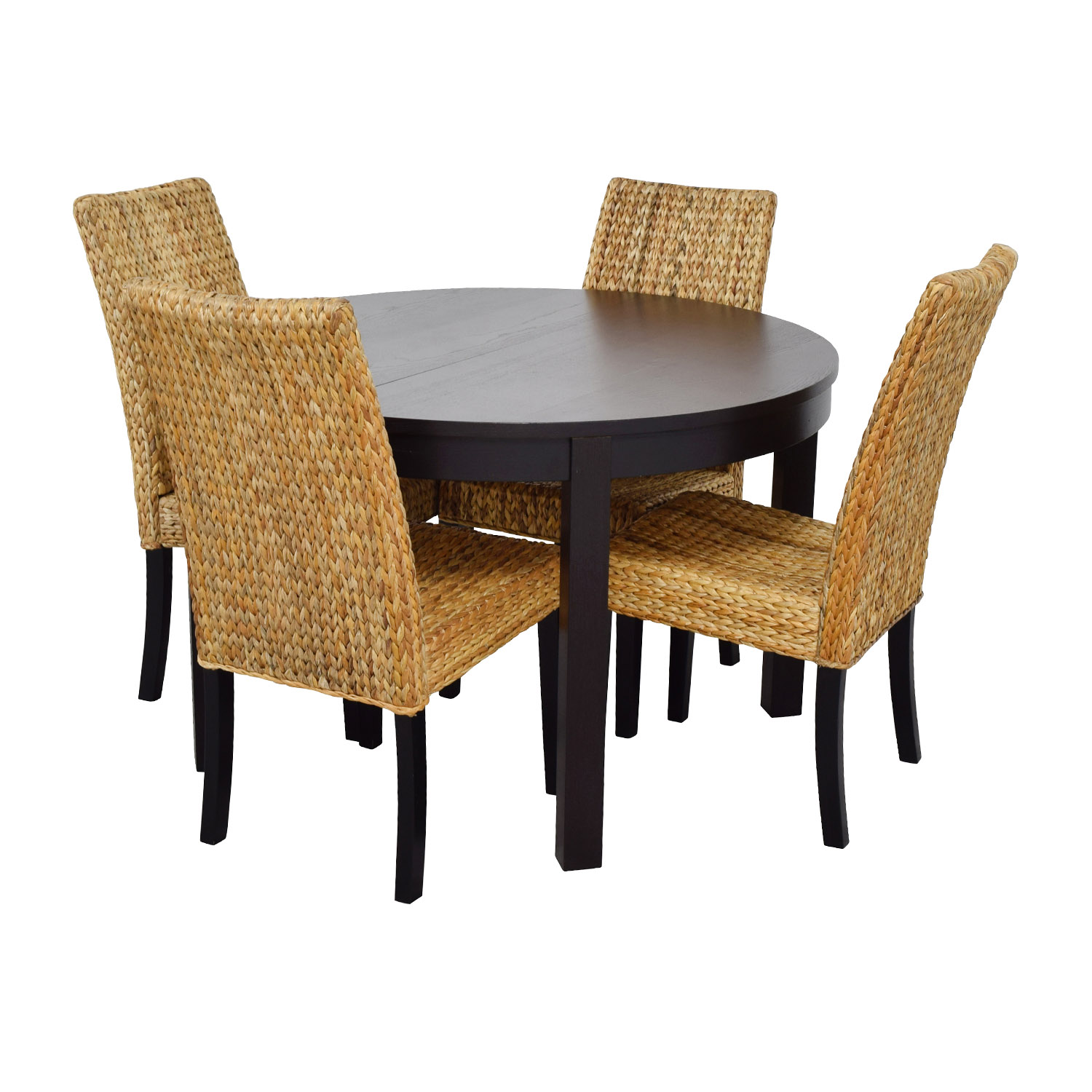 66 off macy 39 s ikea round black dining table set with for Four chair dining table