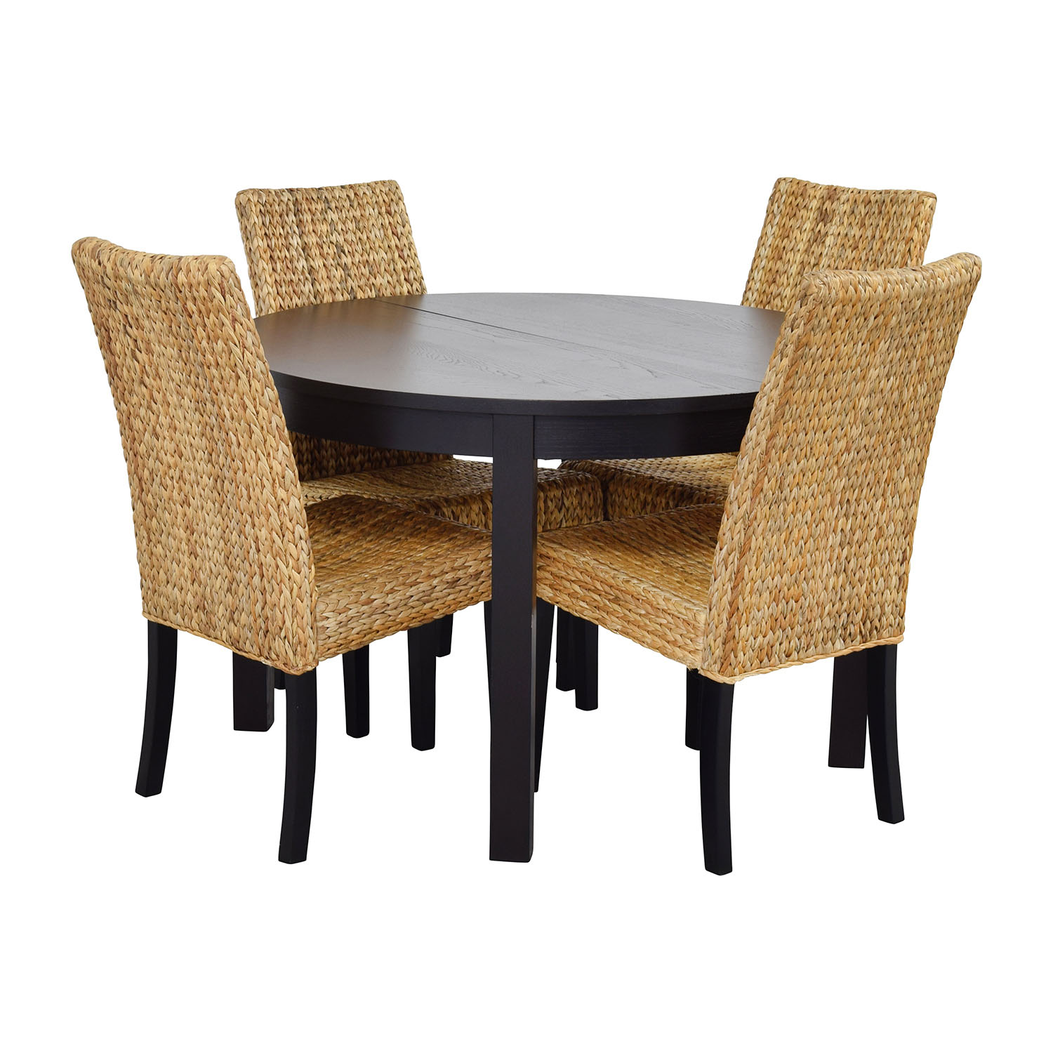 66 off macy 39 s ikea round black dining table set with for Round dining table set