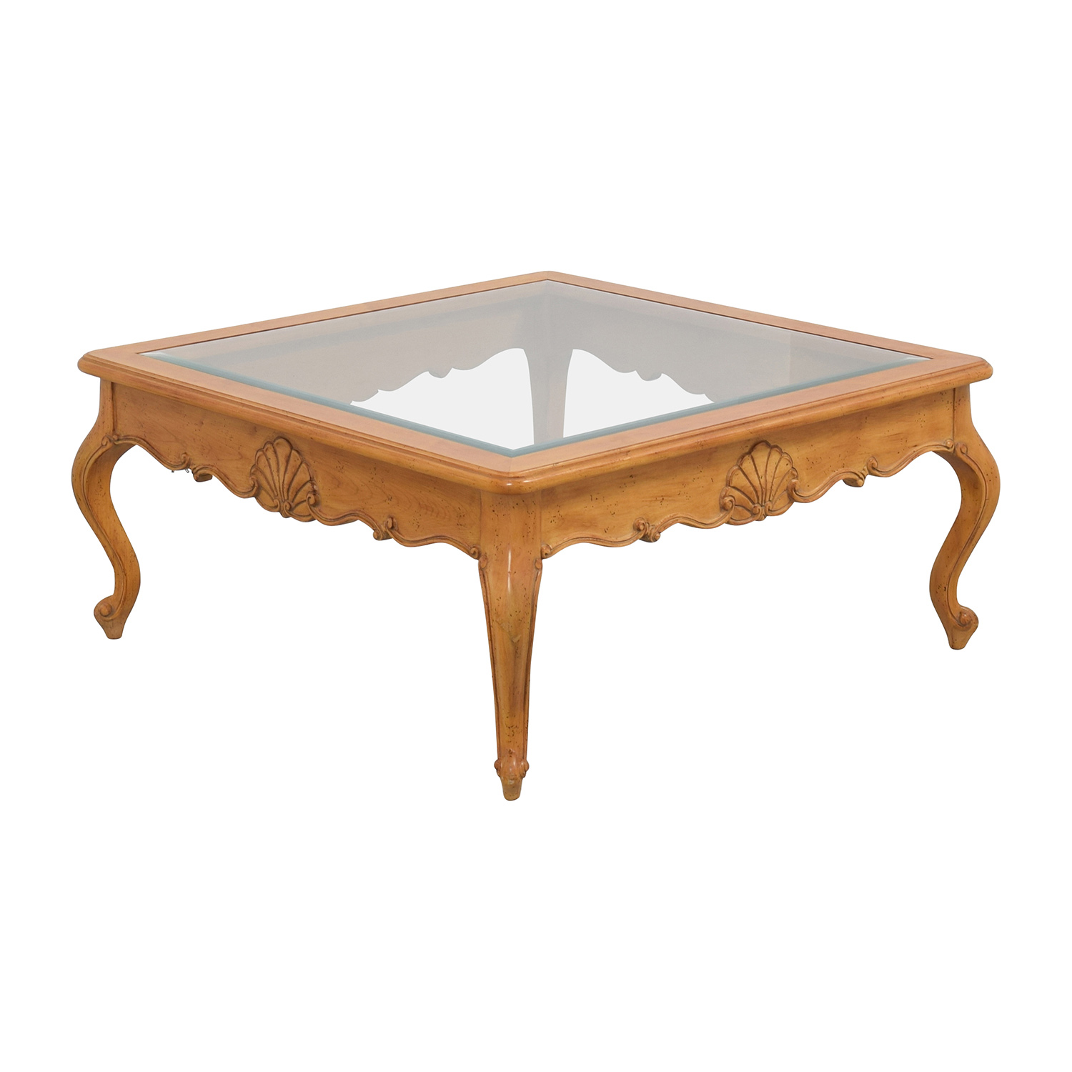 Scroll Light Wood Glass Coffee Table Tables