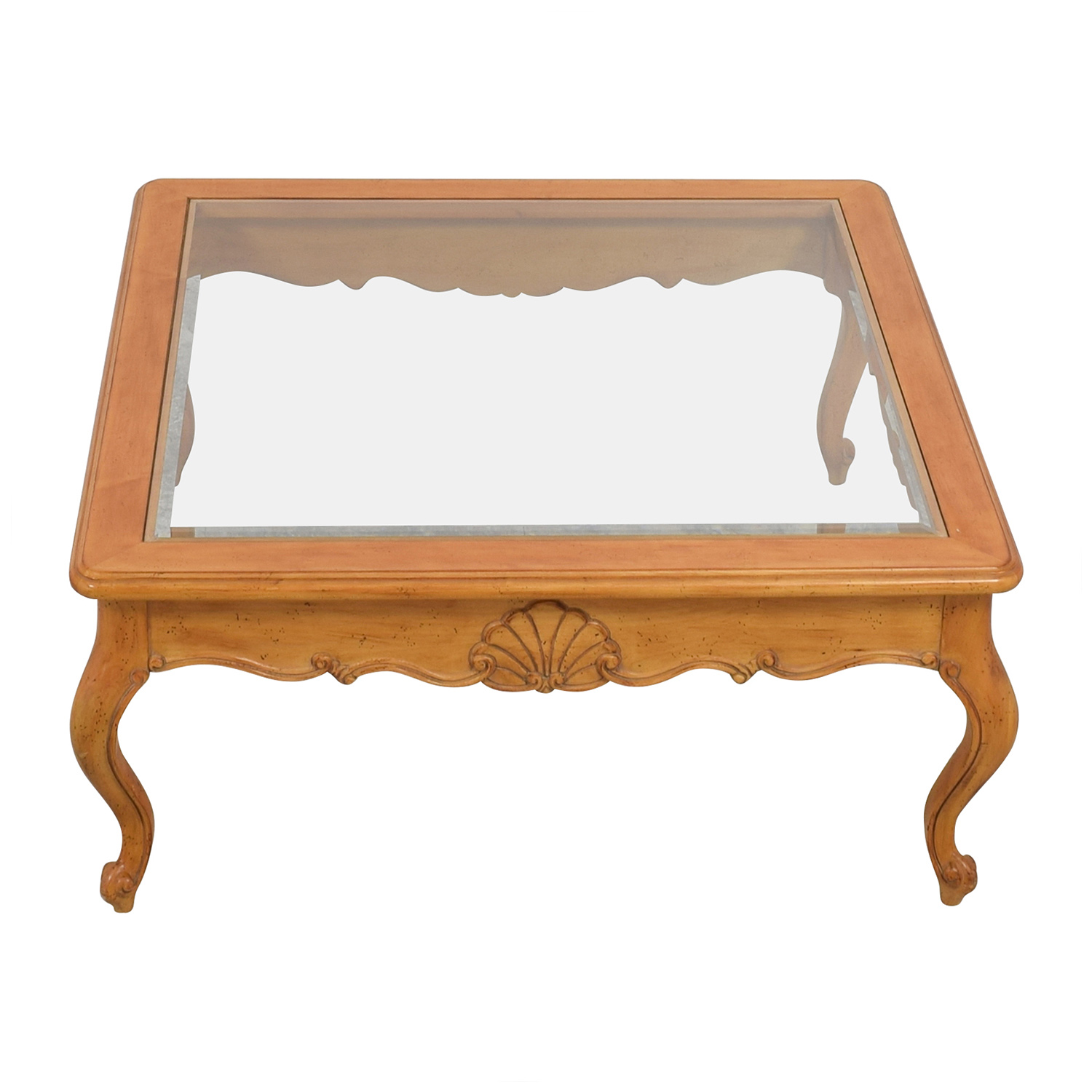 Scroll Light Wood Glass Coffee Table on sale