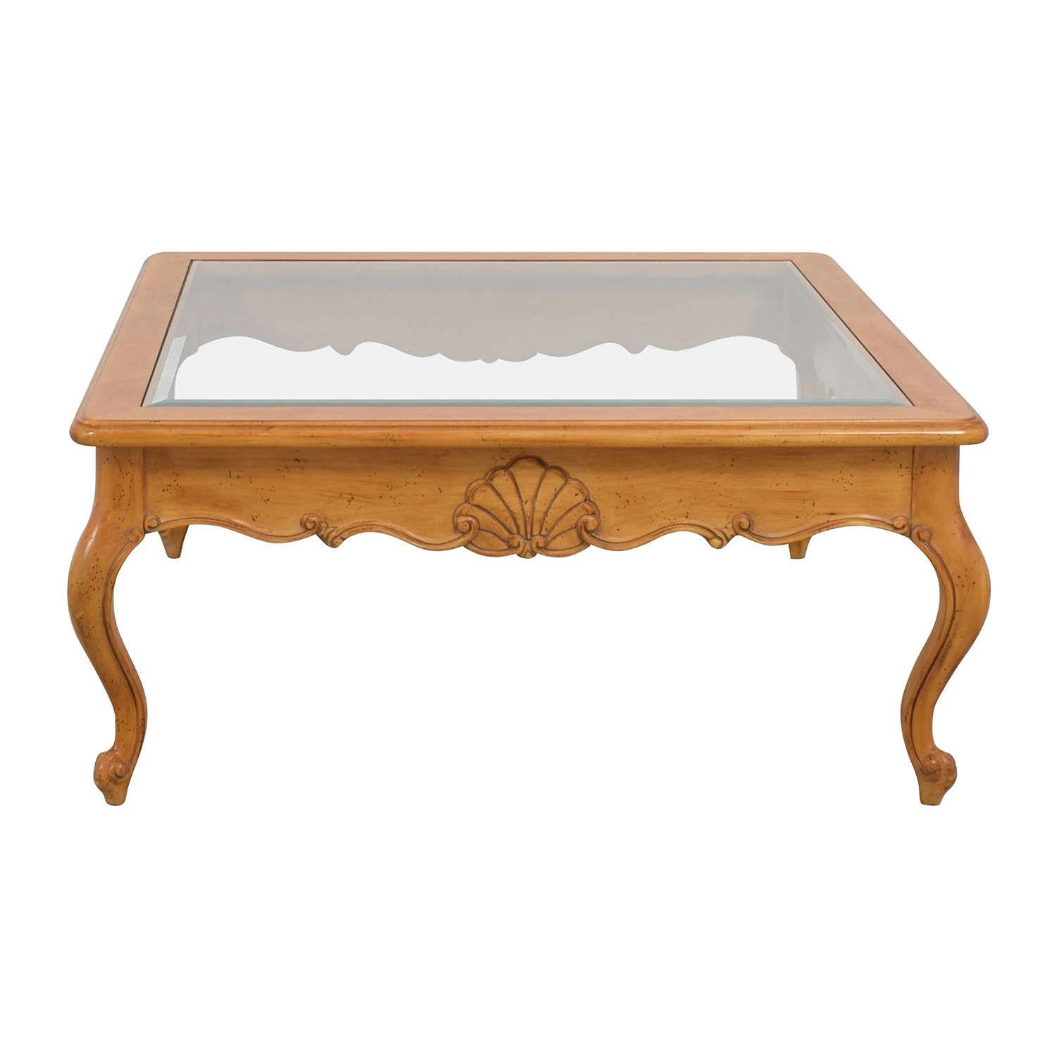 Scroll Light Wood Glass Coffee Table discount
