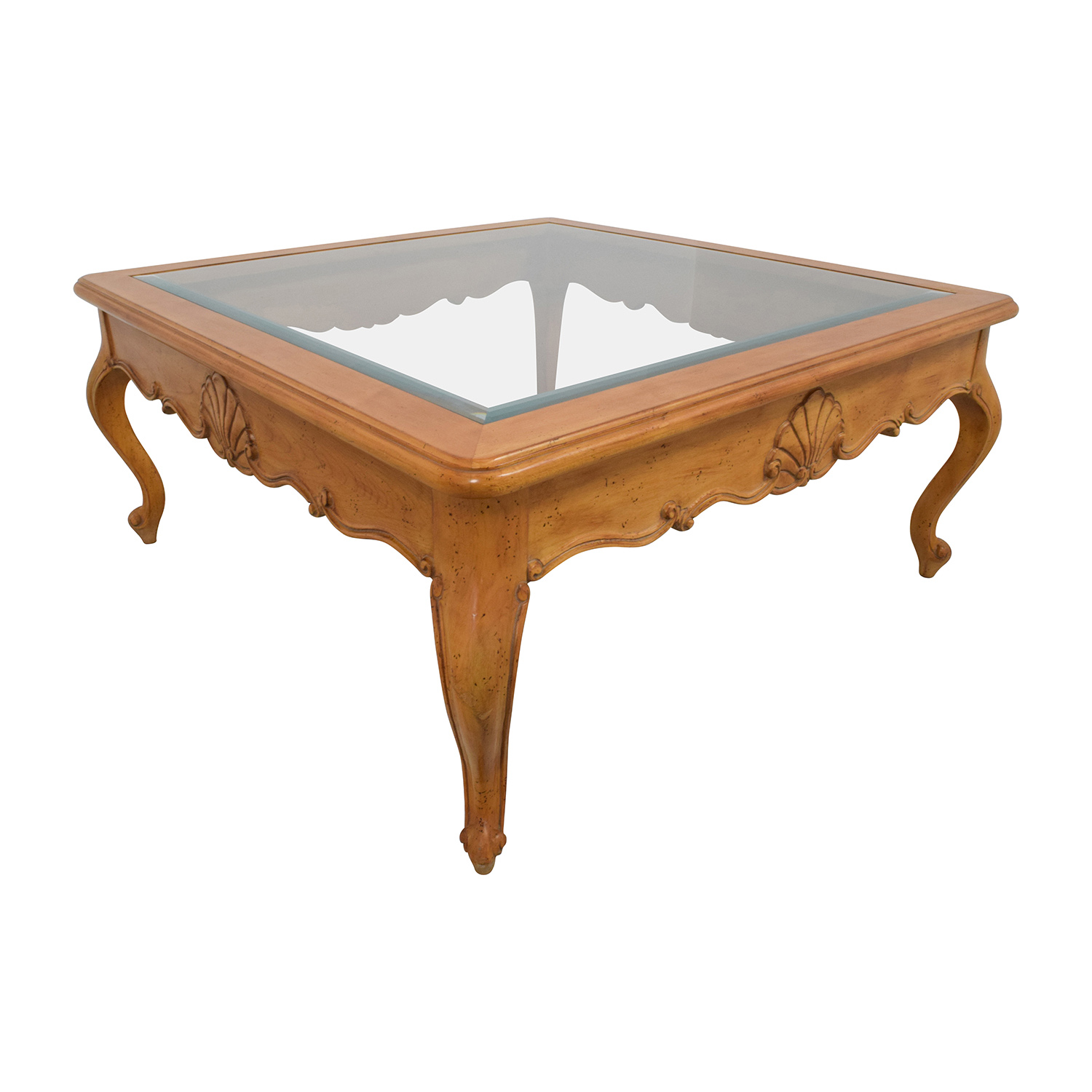 Scroll Light Wood Glass Coffee Table second hand