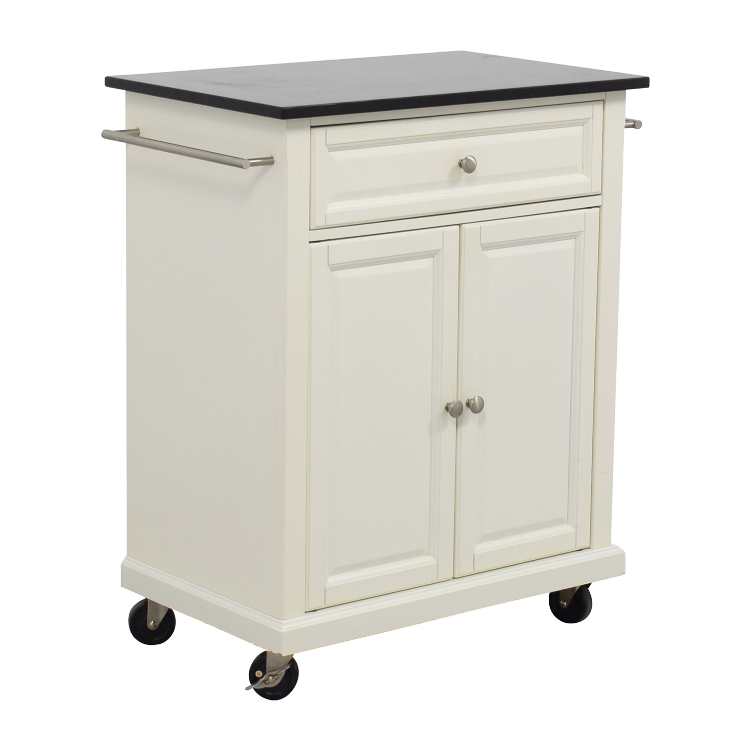Crosley Furniture White Kitchen Island Counter on Castors / Tables