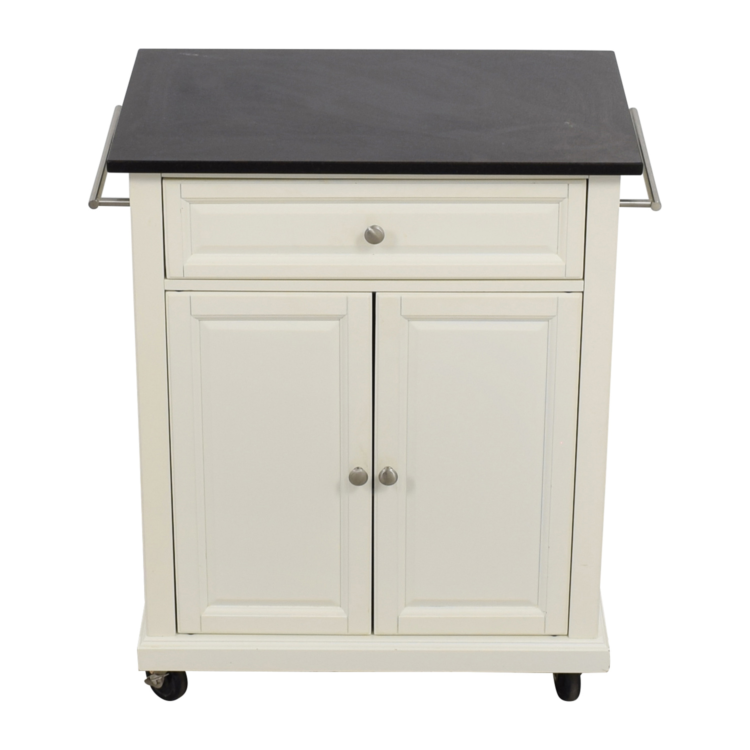 buy Crosley Furniture White Kitchen Island Counter on Castors Crosley Furniture Tables