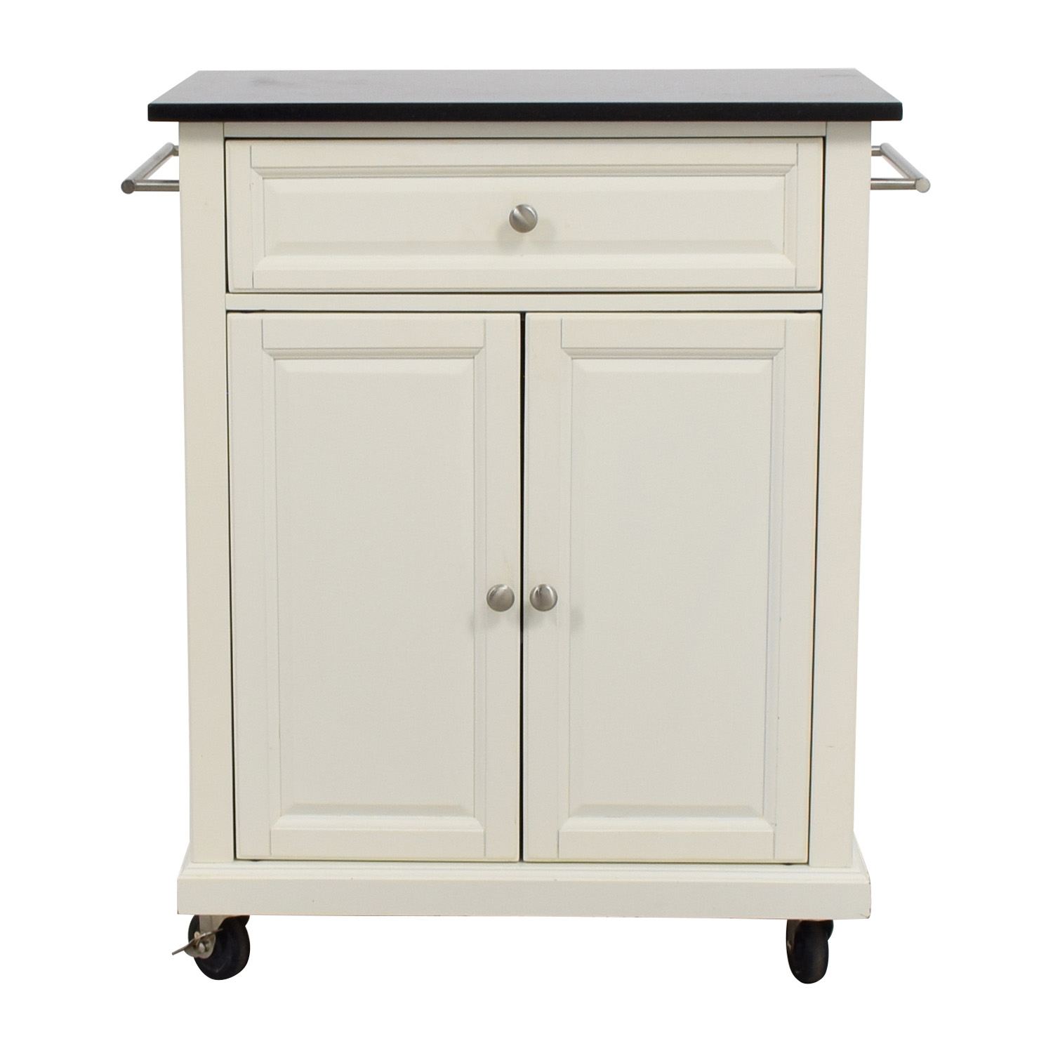 Crosley Furniture Crosley Furniture White Kitchen Island Counter on Castors