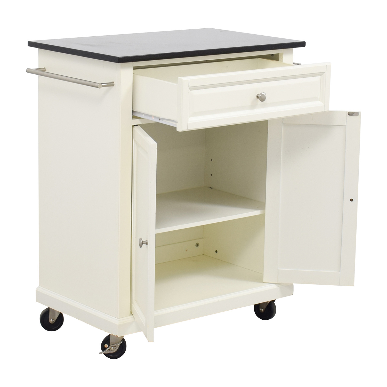 shop crosley furniture crosley furniture white kitchen island counter on castors online