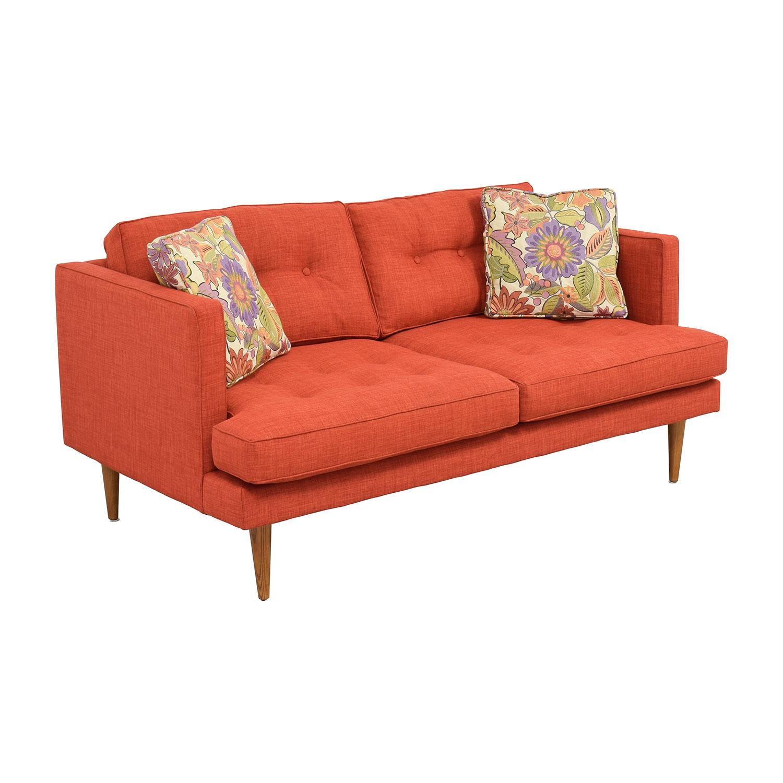 West Elm West Elm Mid-Century Heathered Weave Sofa red