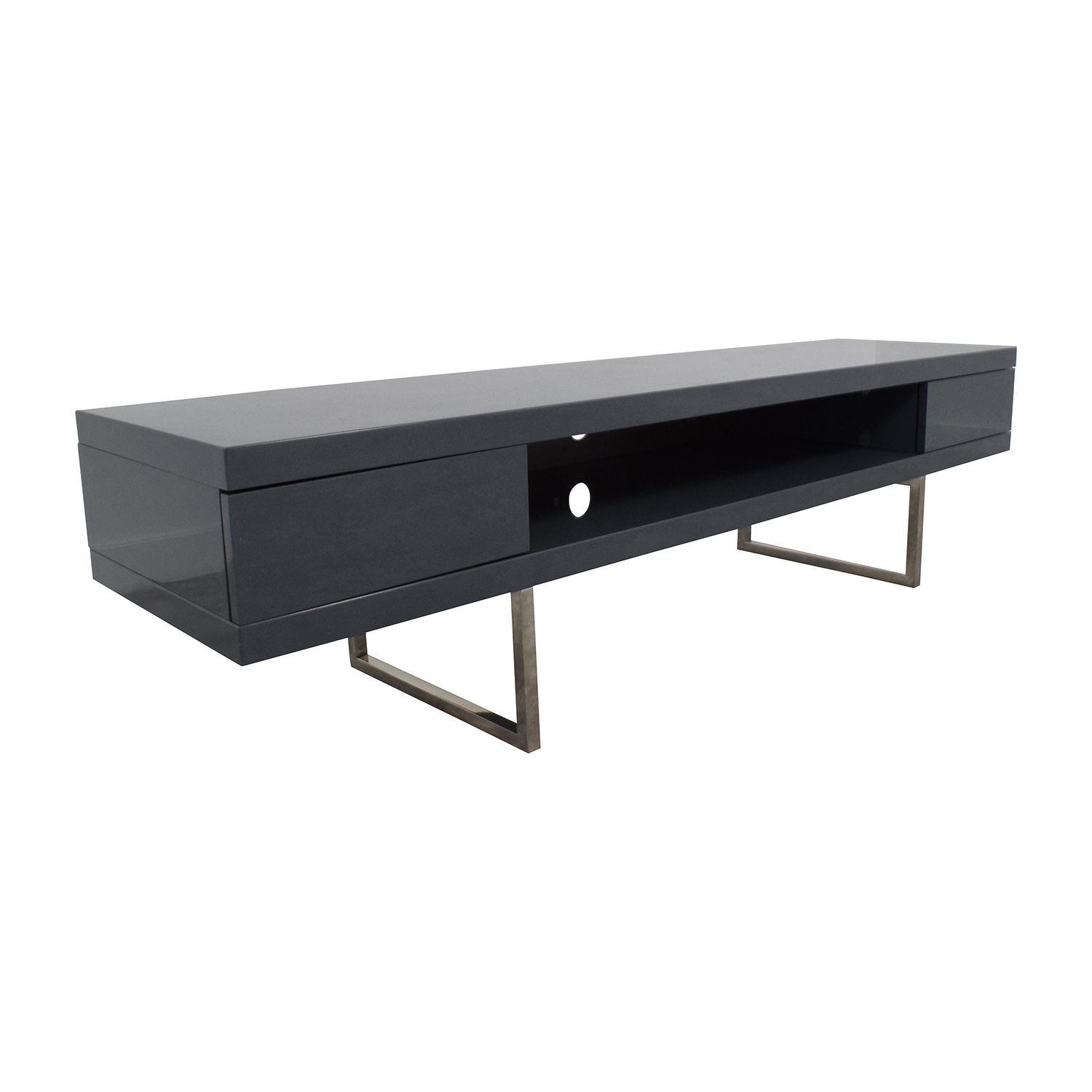 One Kings Lane One Kings Lane Grey High Gloss Lacquer TV Console price
