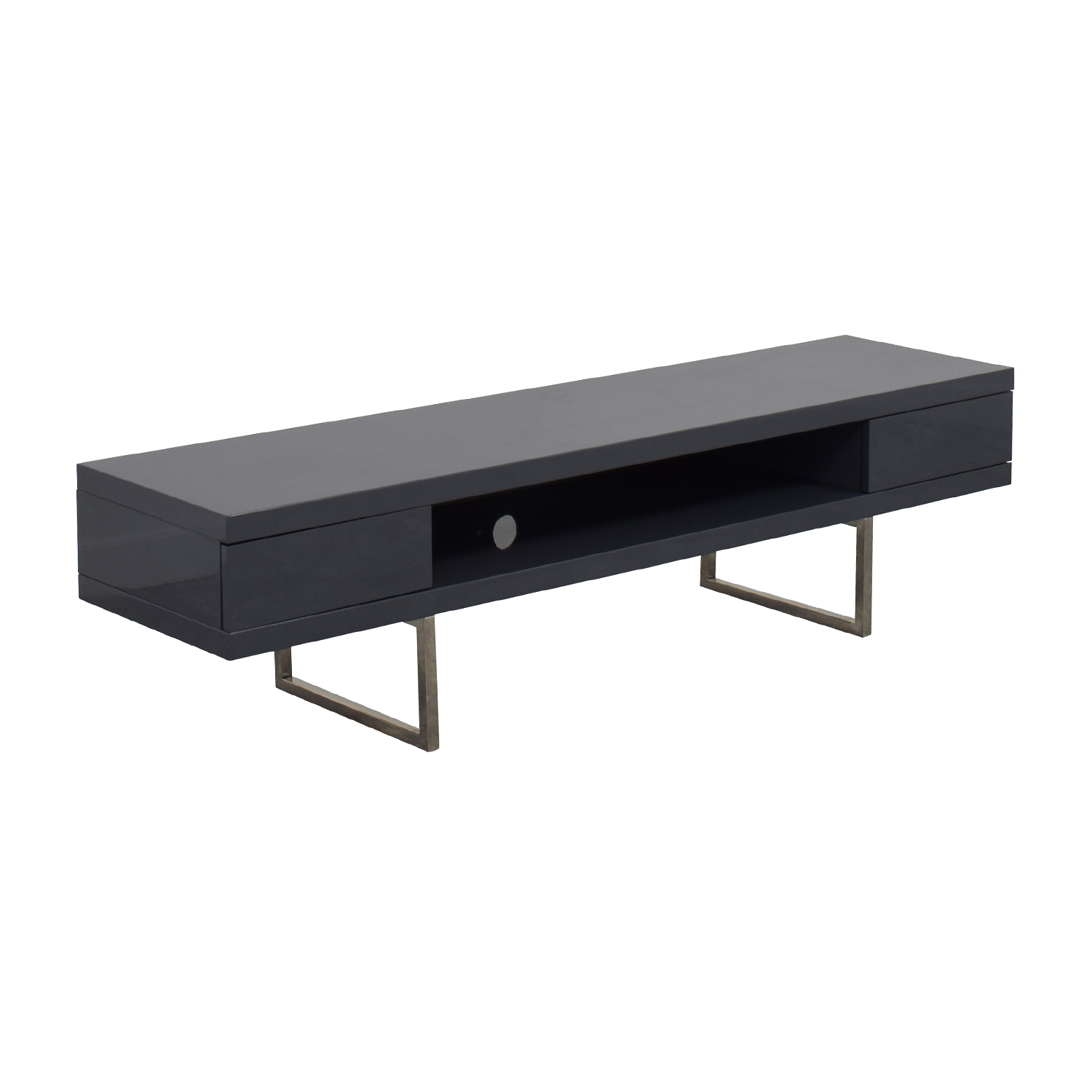 One Kings Lane One Kings Lane Grey High Gloss Lacquer TV Console Storage