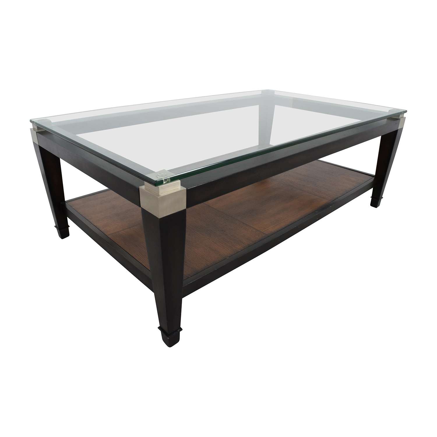 78% OFF Macys Macy s Glass and Wood Coffee Table Tables