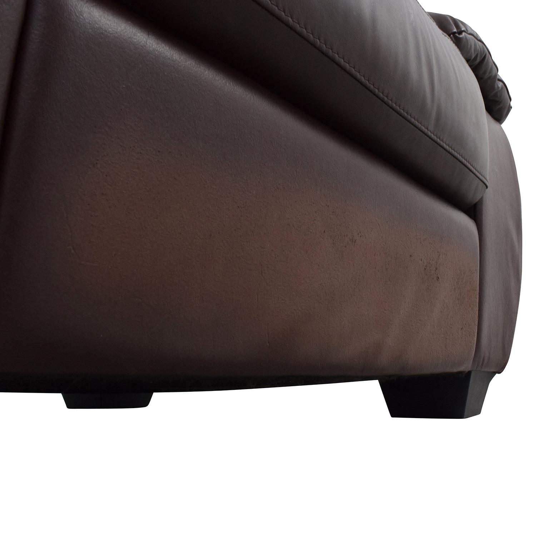 shop Italsofa Brown Leather Plush Armchair Italsofa