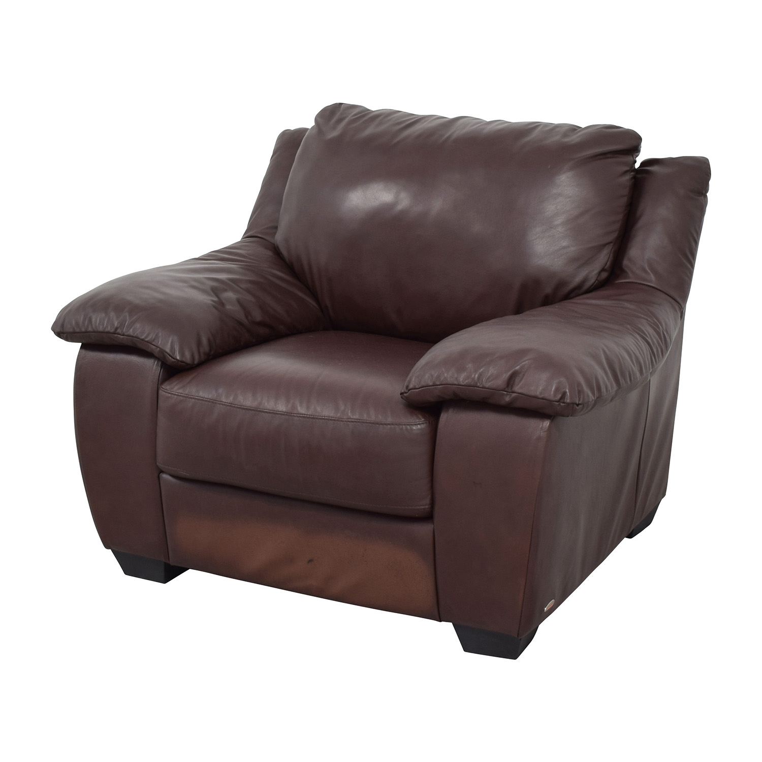 84 Off Natuzzi Italsofa Brown Leather Plush Armchair Chairs