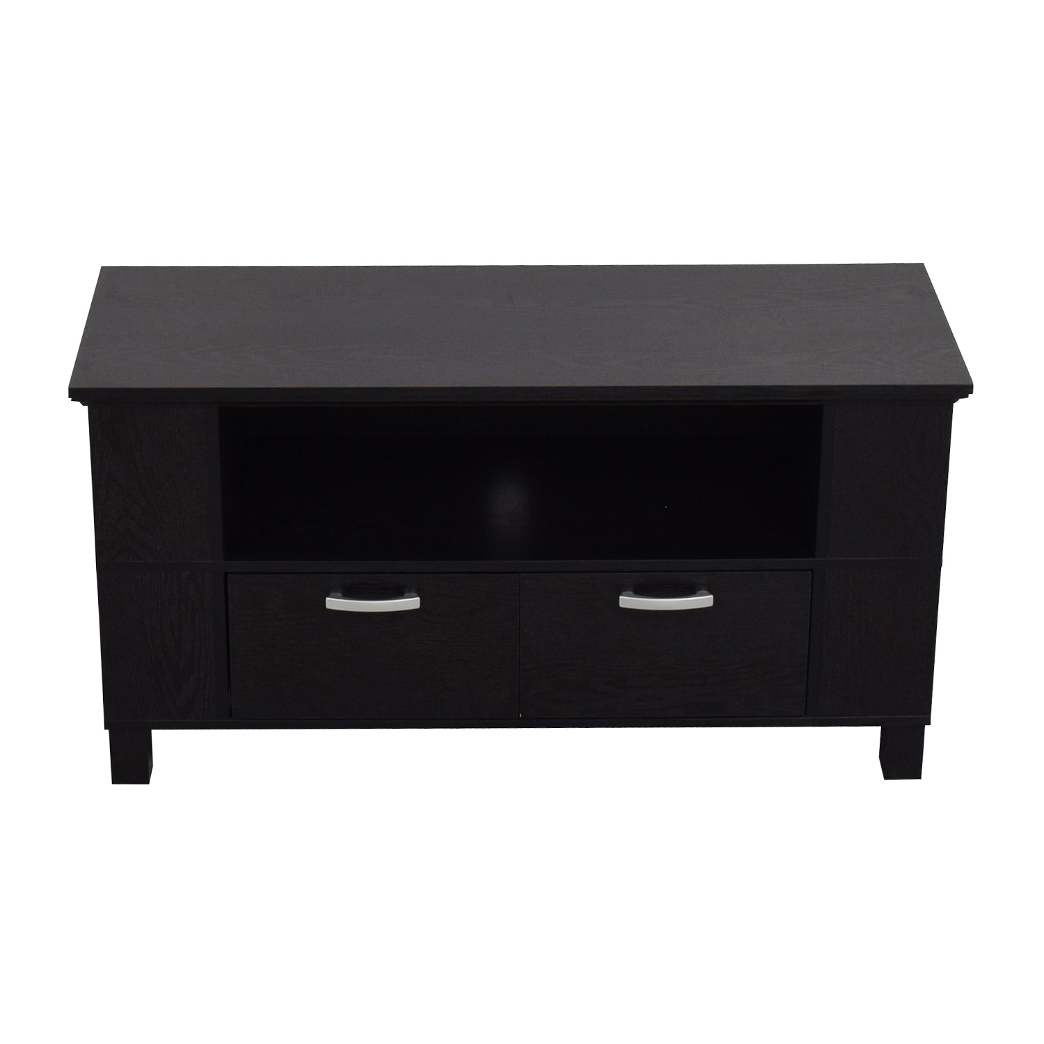 buy Espresso TV Stand with Two Drawers with Chrome Handles