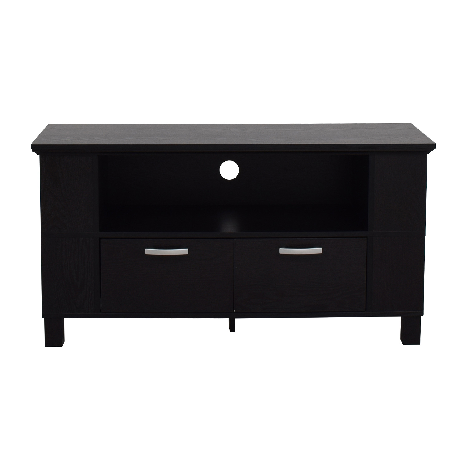 Espresso TV Stand with Two Drawers with Chrome Handles second hand