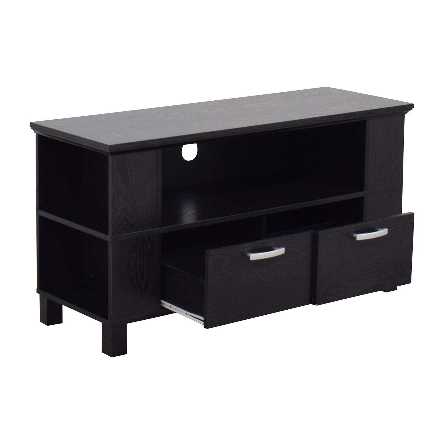 Espresso TV Stand with Two Drawers with Chrome Handles