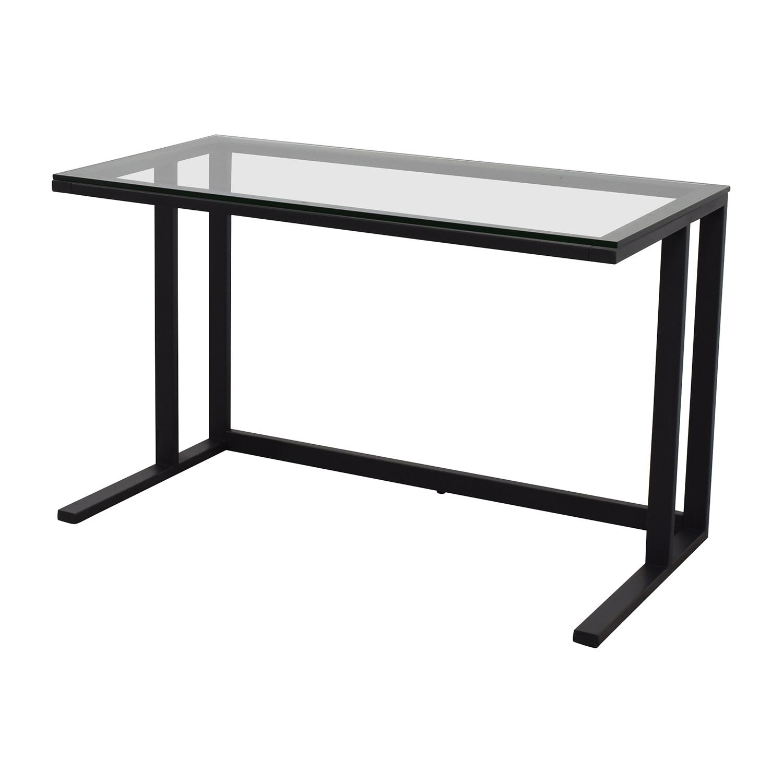 shop Crate & Barrel Pilsen Desk Graphite Grey Crate & Barrel Home Office Desks