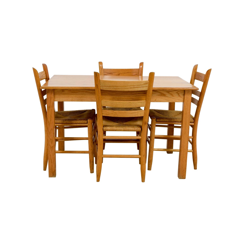 Crate & Barrel Crate & Barrel Rectangle Maple Wooden Dining Set discount