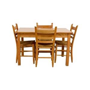 Crate & Barrel Crate & Barrel Rectangle Maple Wooden Dining Set dimensions