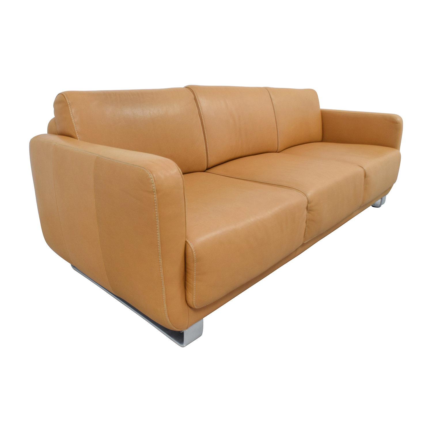 68 off w schillig w schillig light brown leather sofa. Black Bedroom Furniture Sets. Home Design Ideas
