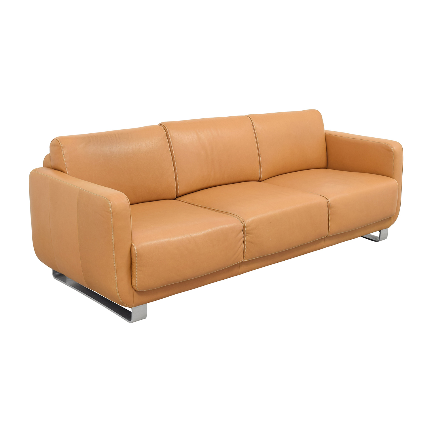 74 off w schillig w schillig light brown leather sofa sofas. Black Bedroom Furniture Sets. Home Design Ideas