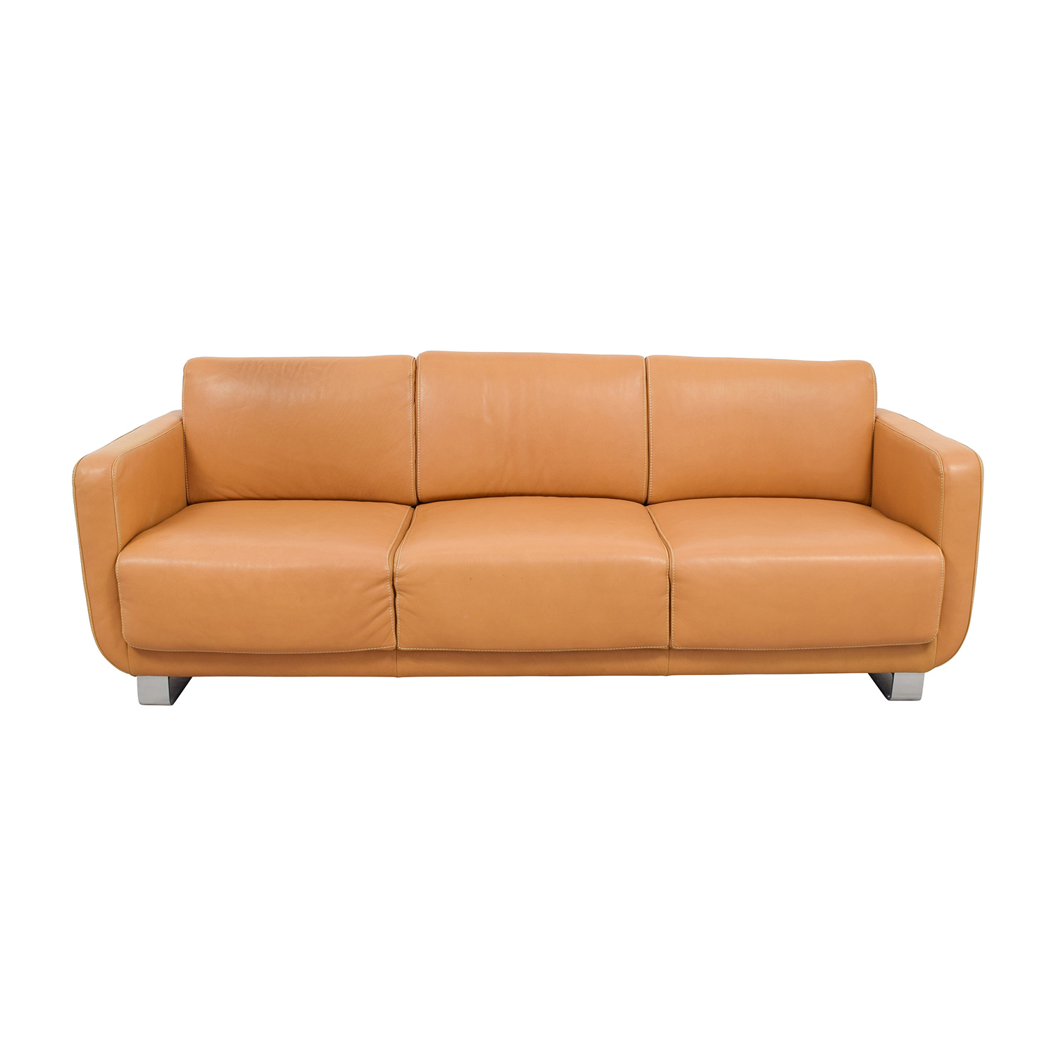 W. Schillig Light Brown Leather Sofa Sale