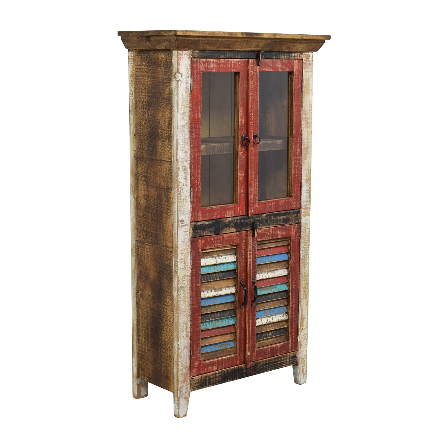 Horizon Home Antique Rustic Glass and Wood Cabinet on sale