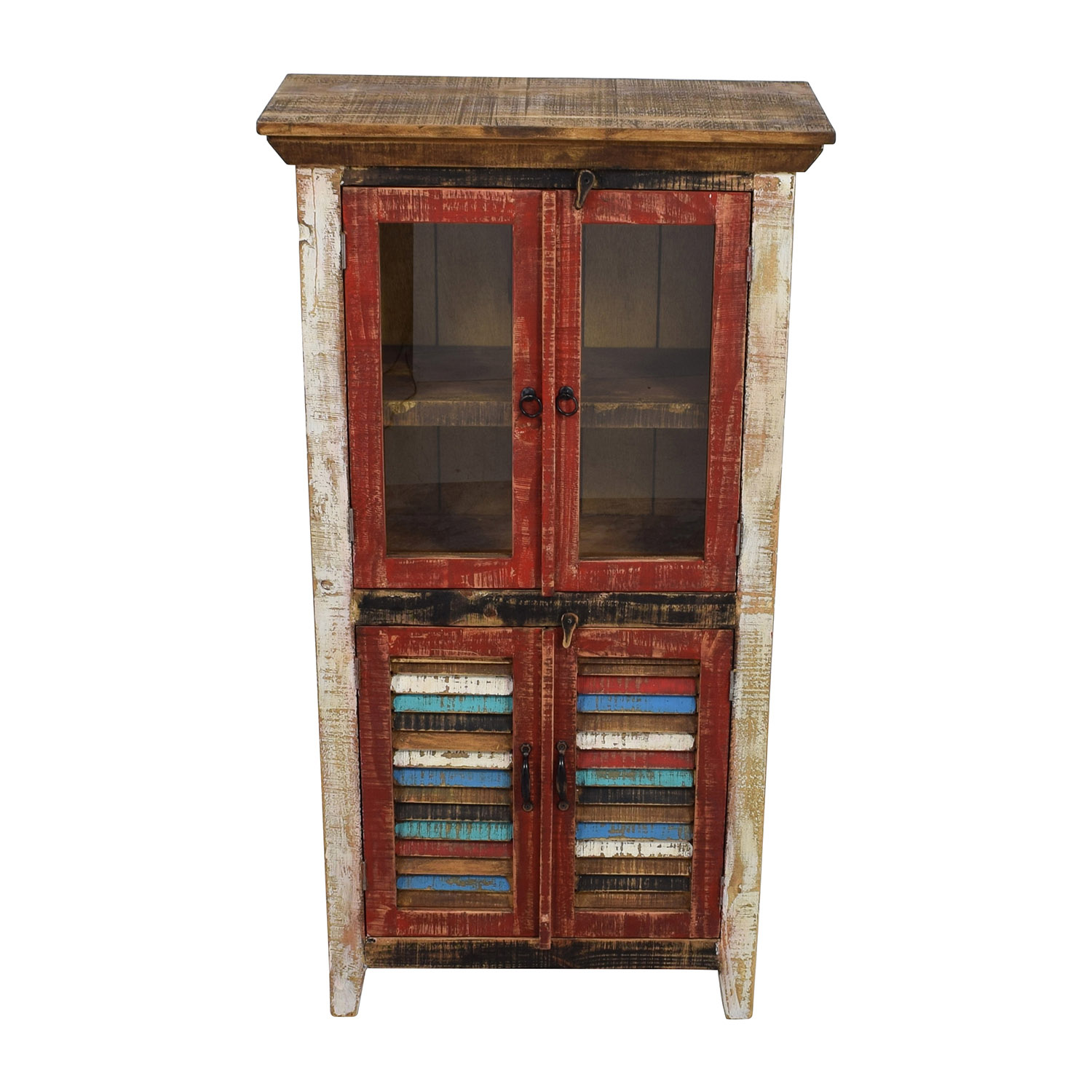 Antique Rustic Glass and Wood Cabinet / Cabinets & Sideboards