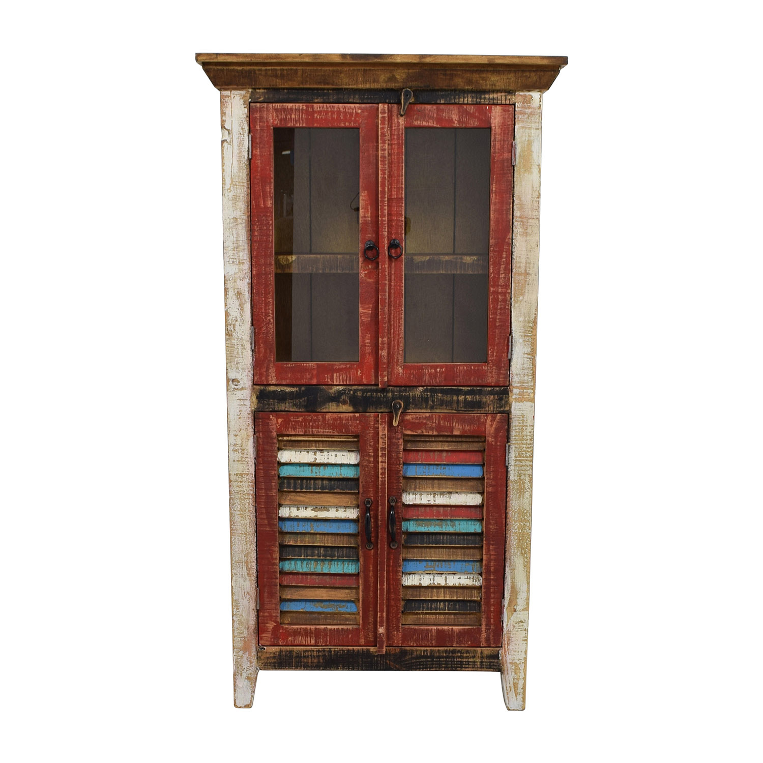 Horizon Home Antique Rustic Glass and Wood Cabinet Storage