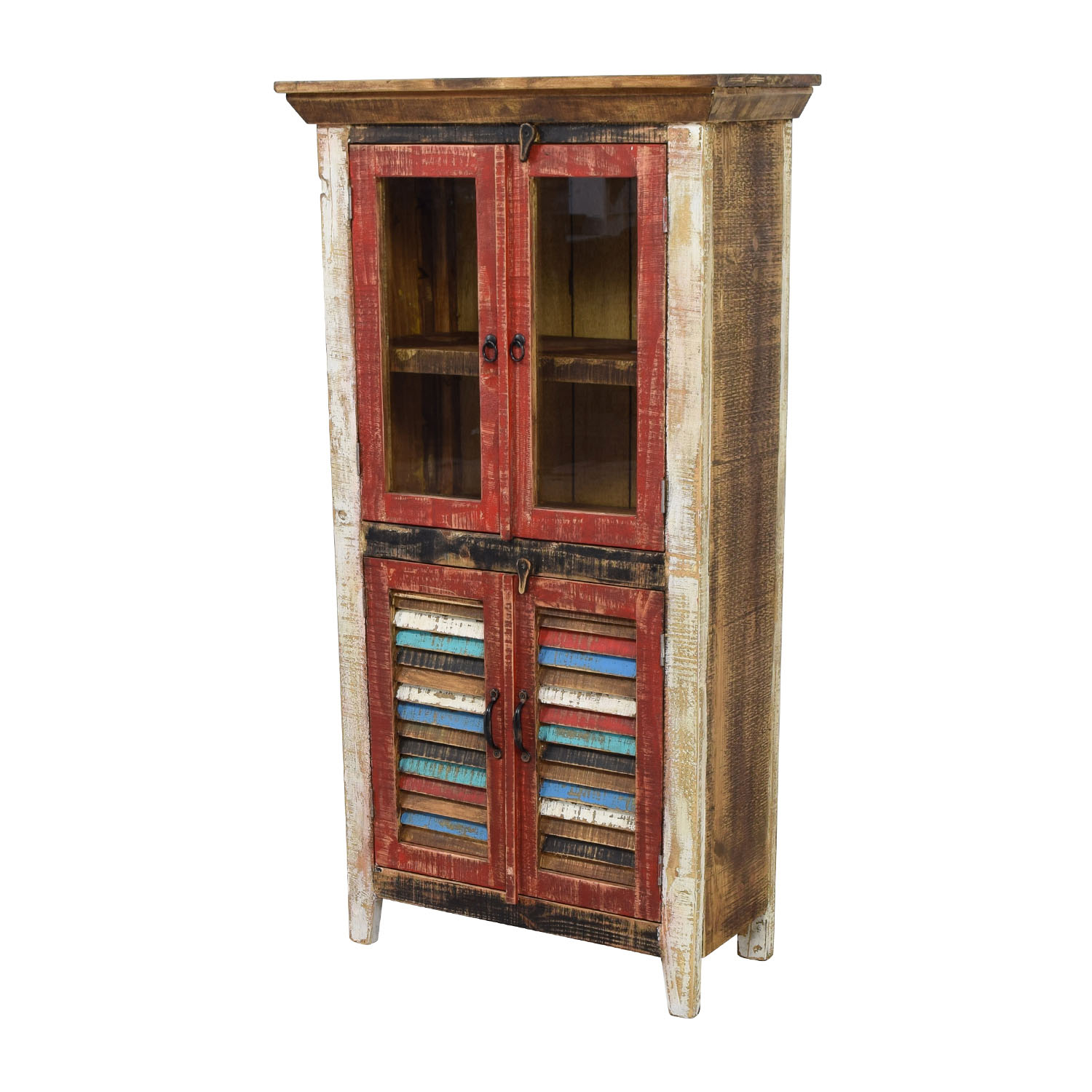 Horizon Home Antique Rustic Glass and Wood Cabinet nyc