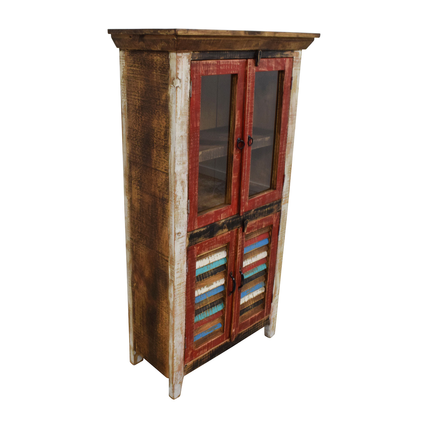 buy Antique Rustic Glass and Wood Cabinet Horizon Home Cabinets & Sideboards