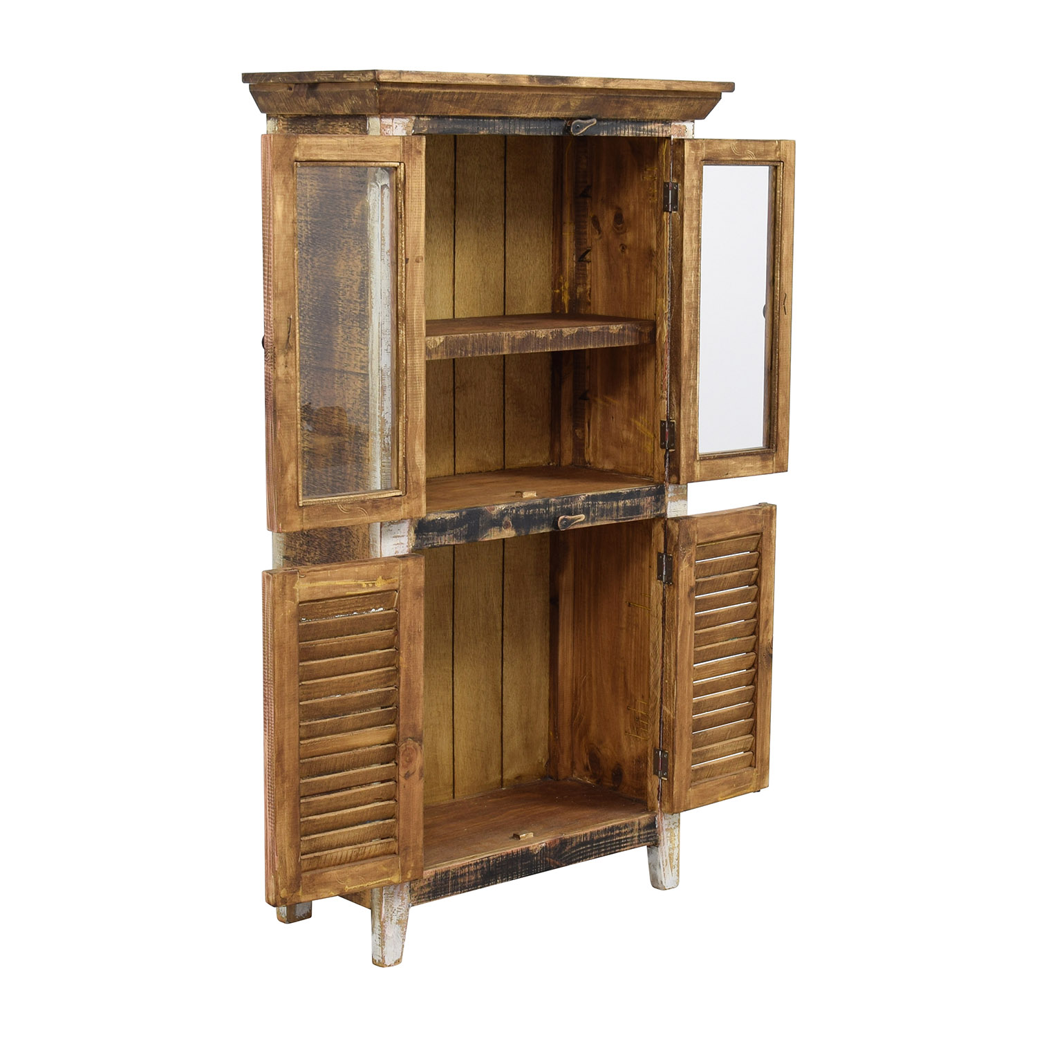 buy Antique Rustic Glass and Wood Cabinet Horizon Home