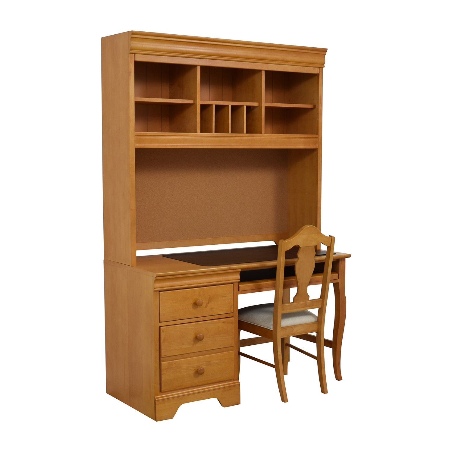 Stanley Furniture Custom Oak Wood Desk With Hutch And Chair