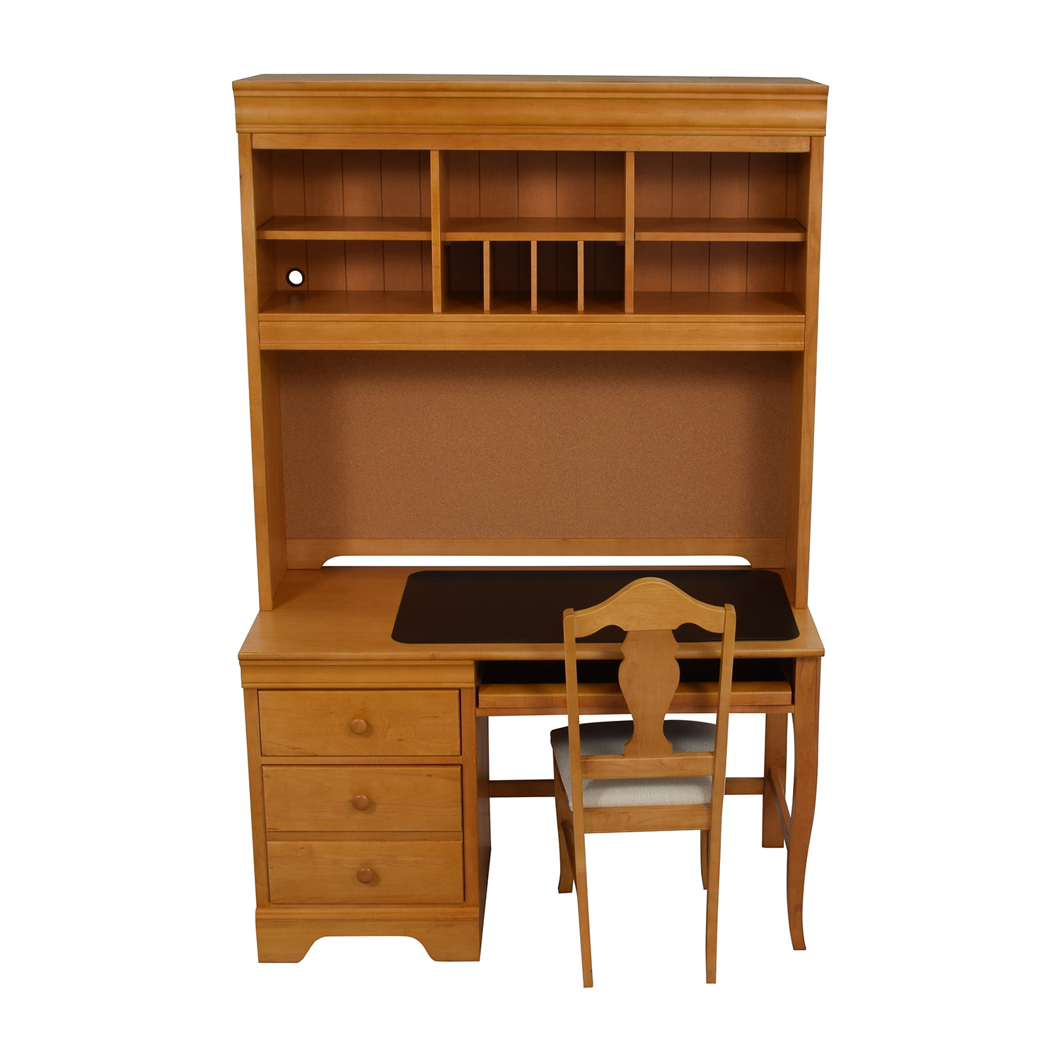 Stanley Furniture Custom Oak Wood Desk With Hutch And Chair Natural
