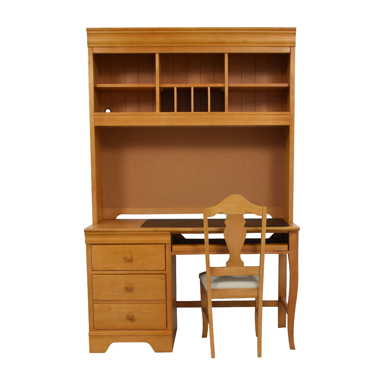 Stanley Furniture Custom Oak Wood Desk with Hutch and Chair Stanley Furniture