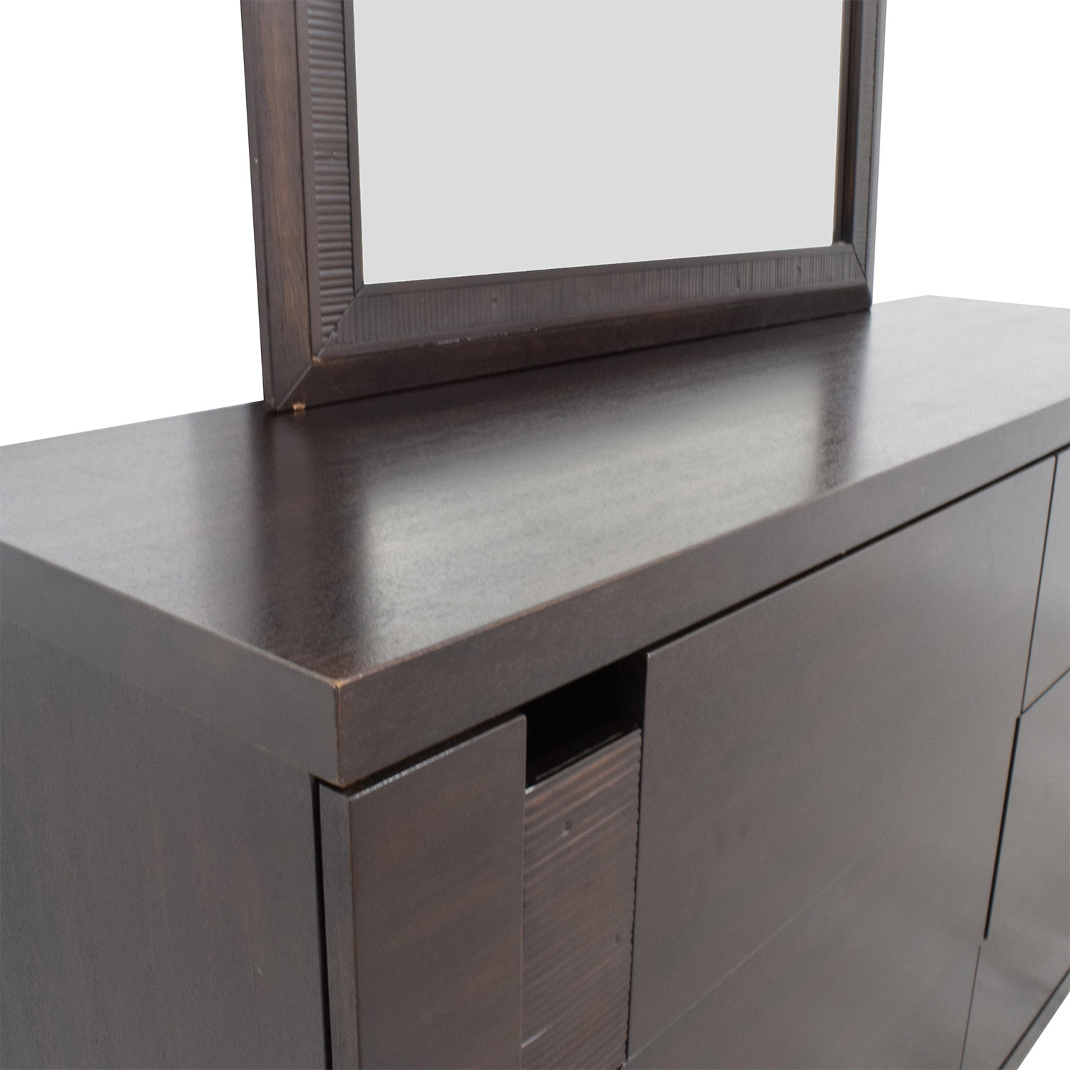 The Door Store The Door Store Dark Brown Wooden Six-Drawer Dresser with Mirror on sale