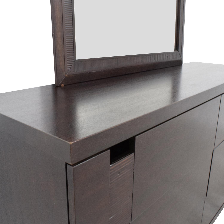The Door Store The Door Store Dark Brown Wooden Six-Drawer Dresser with Mirror on sale