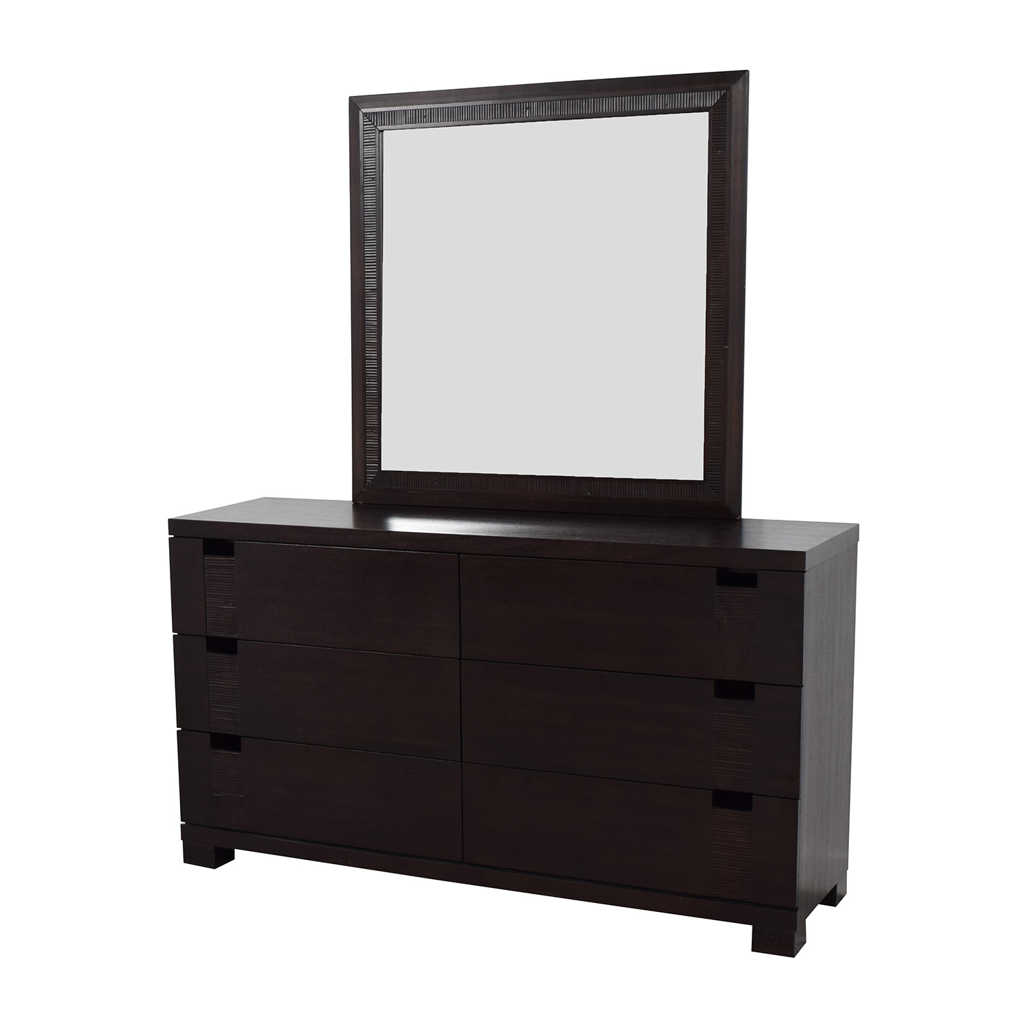 buy The Door Store Dark Brown Wooden Six-Drawer Dresser with Mirror The Door Store Storage