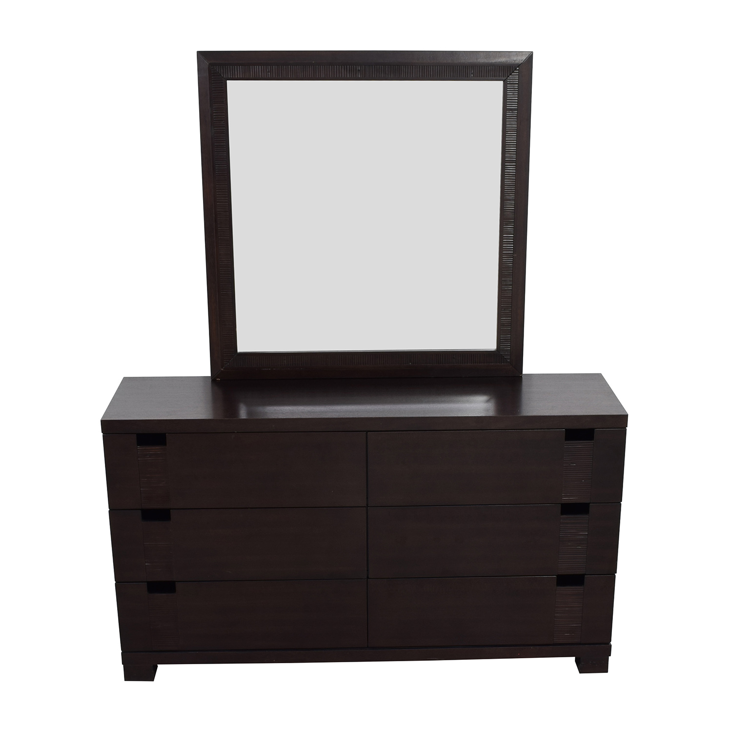 The Door Store The Door Store Dark Brown Wooden Six-Drawer Dresser with Mirror